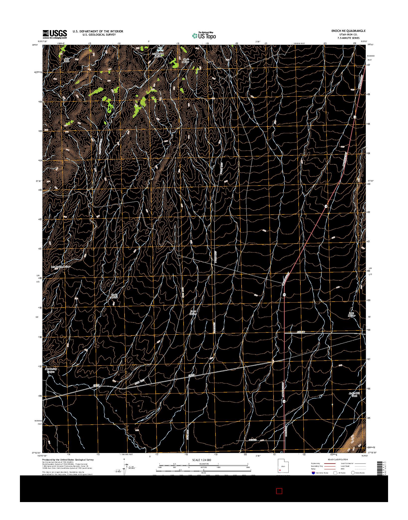 USGS US TOPO 7.5-MINUTE MAP FOR ENOCH NE, UT 2014