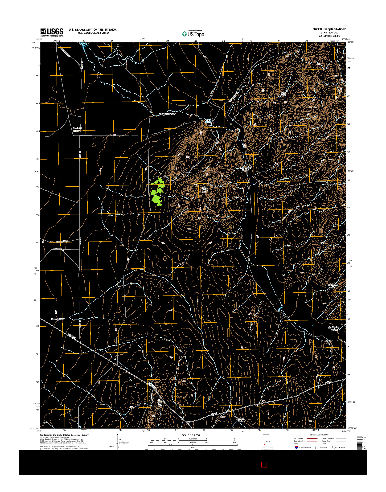 USGS US TOPO 7.5-MINUTE MAP FOR ENOCH NW, UT 2014