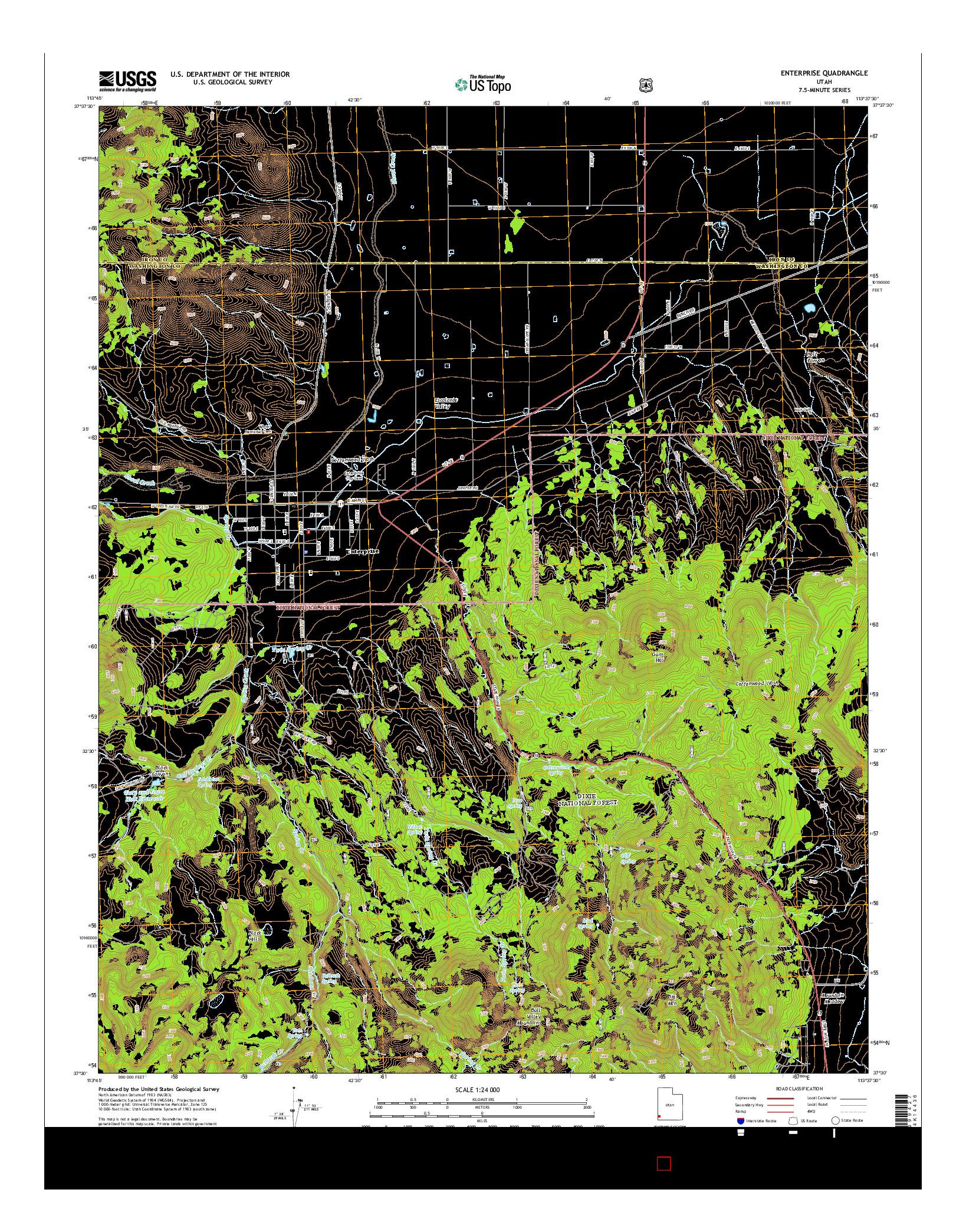 USGS US TOPO 7.5-MINUTE MAP FOR ENTERPRISE, UT 2014