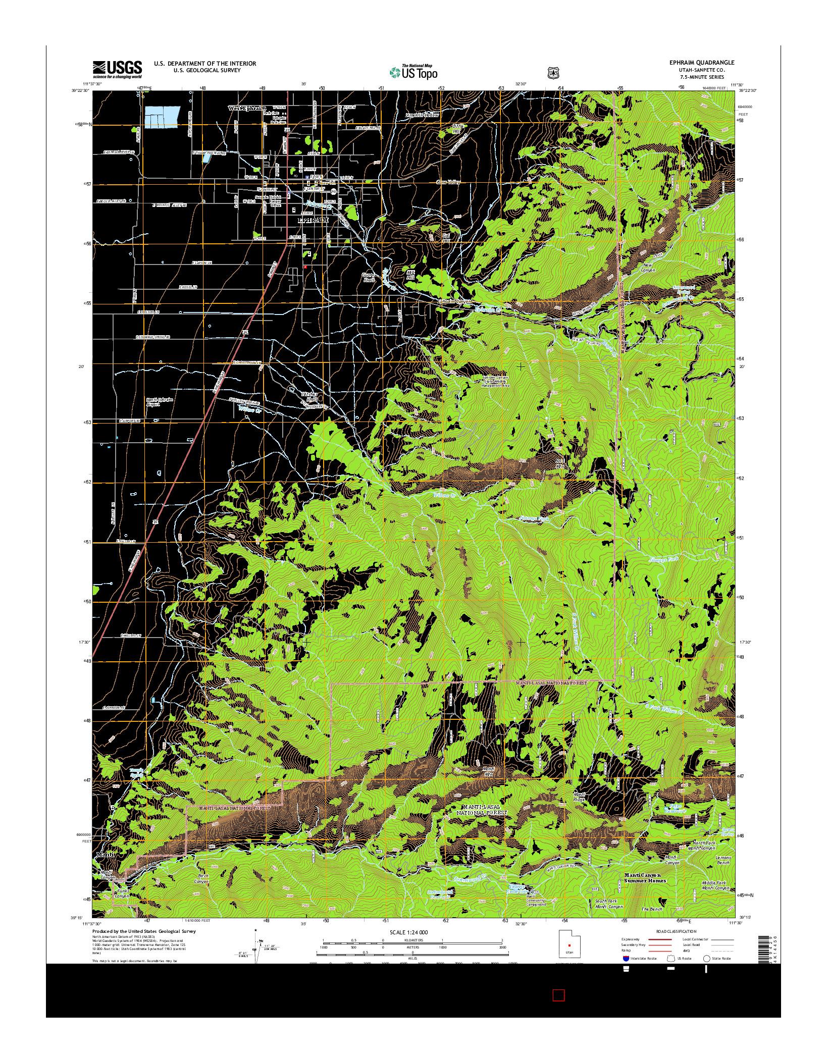 USGS US TOPO 7.5-MINUTE MAP FOR EPHRAIM, UT 2014