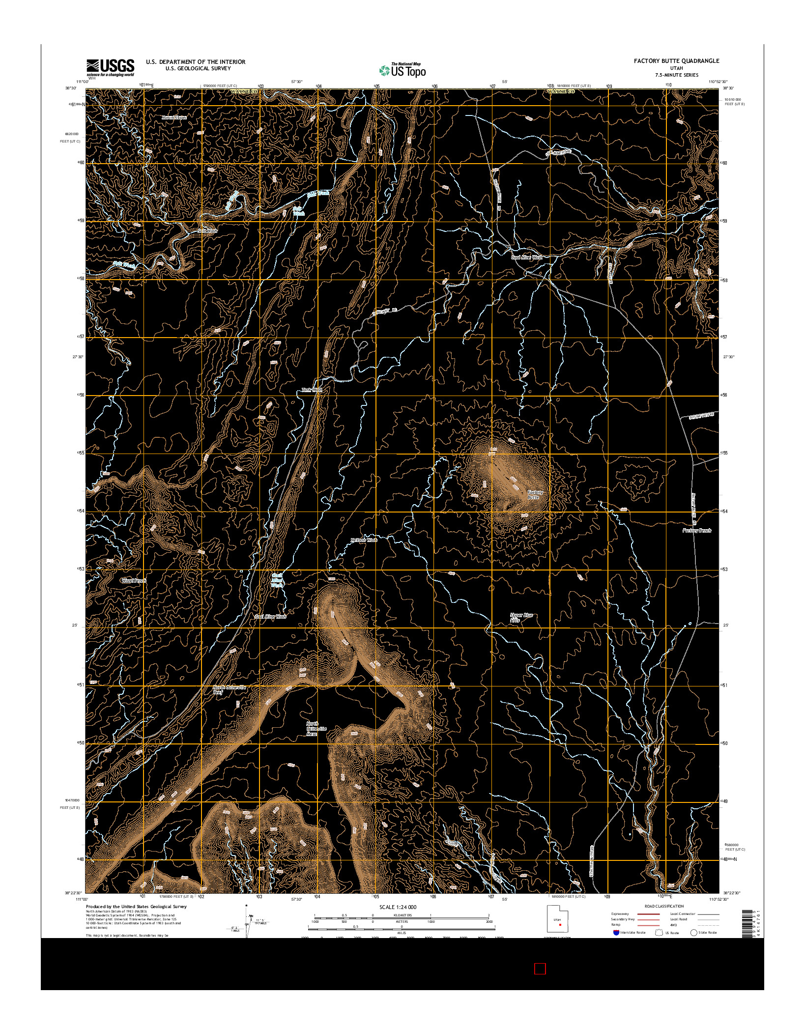 USGS US TOPO 7.5-MINUTE MAP FOR FACTORY BUTTE, UT 2014