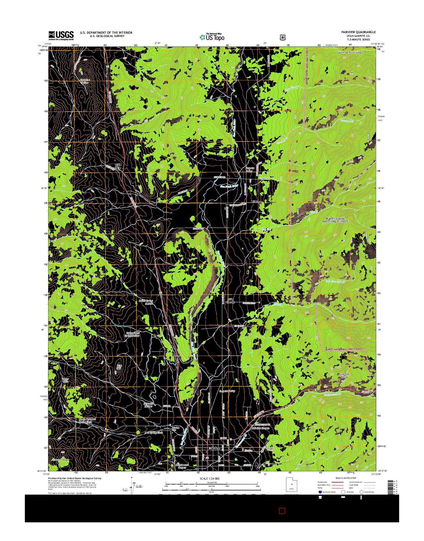 USGS US TOPO 7.5-MINUTE MAP FOR FAIRVIEW, UT 2014