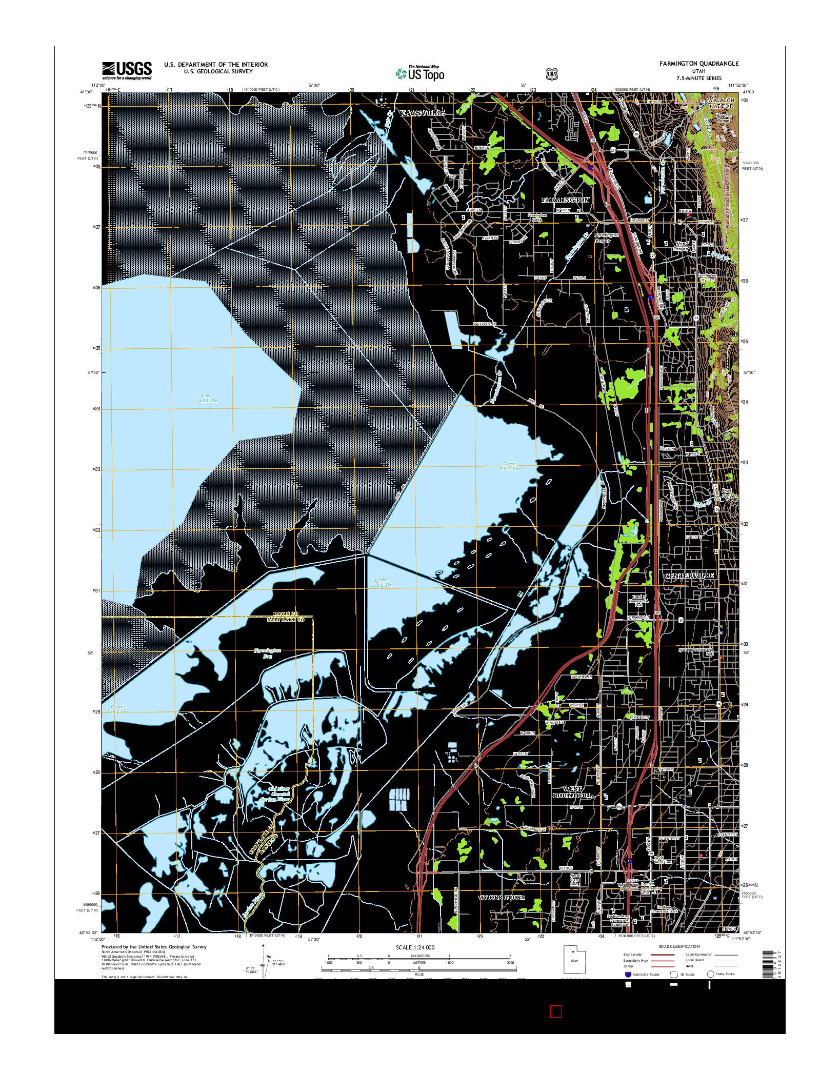 USGS US TOPO 7.5-MINUTE MAP FOR FARMINGTON, UT 2014