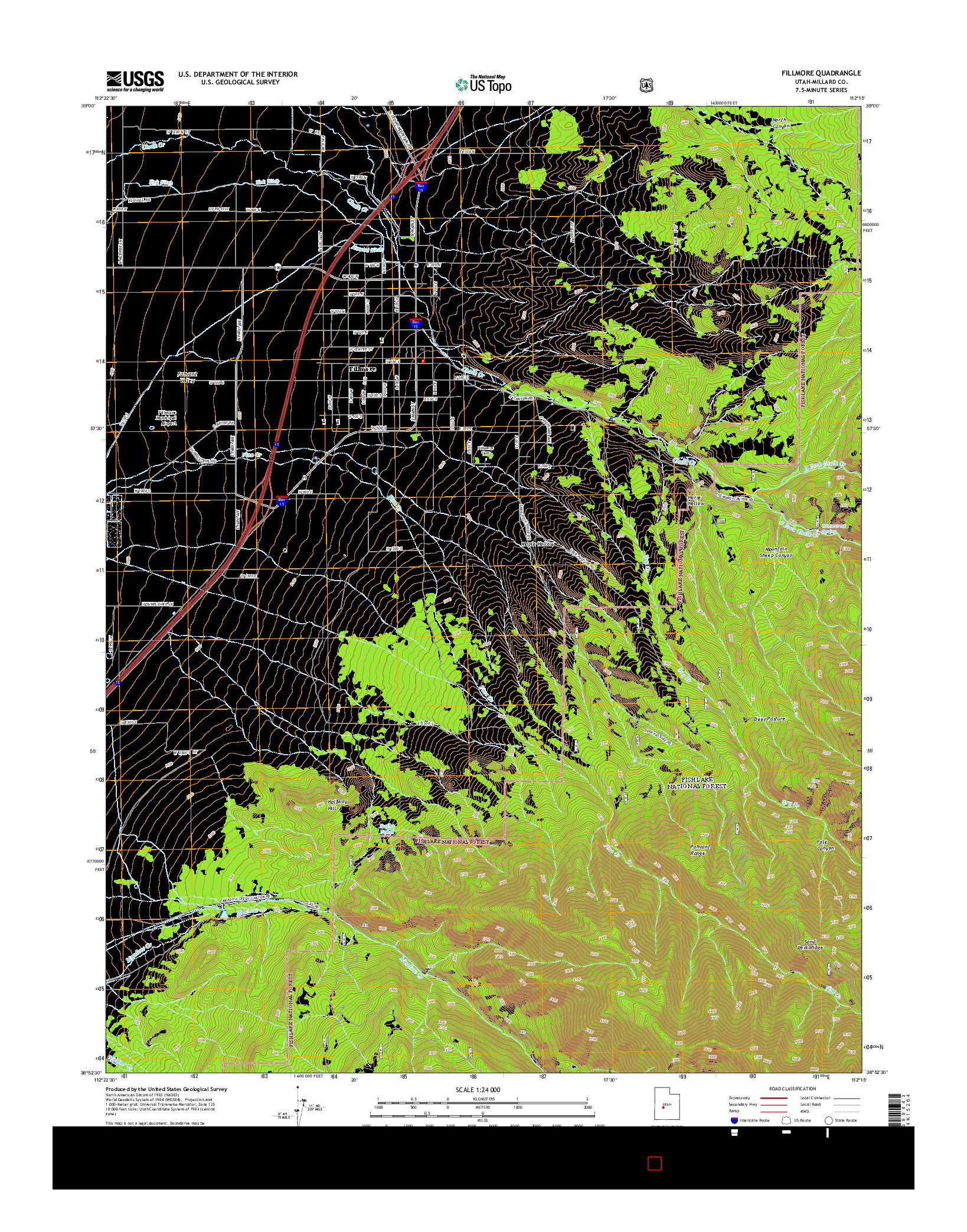 USGS US TOPO 7.5-MINUTE MAP FOR FILLMORE, UT 2014