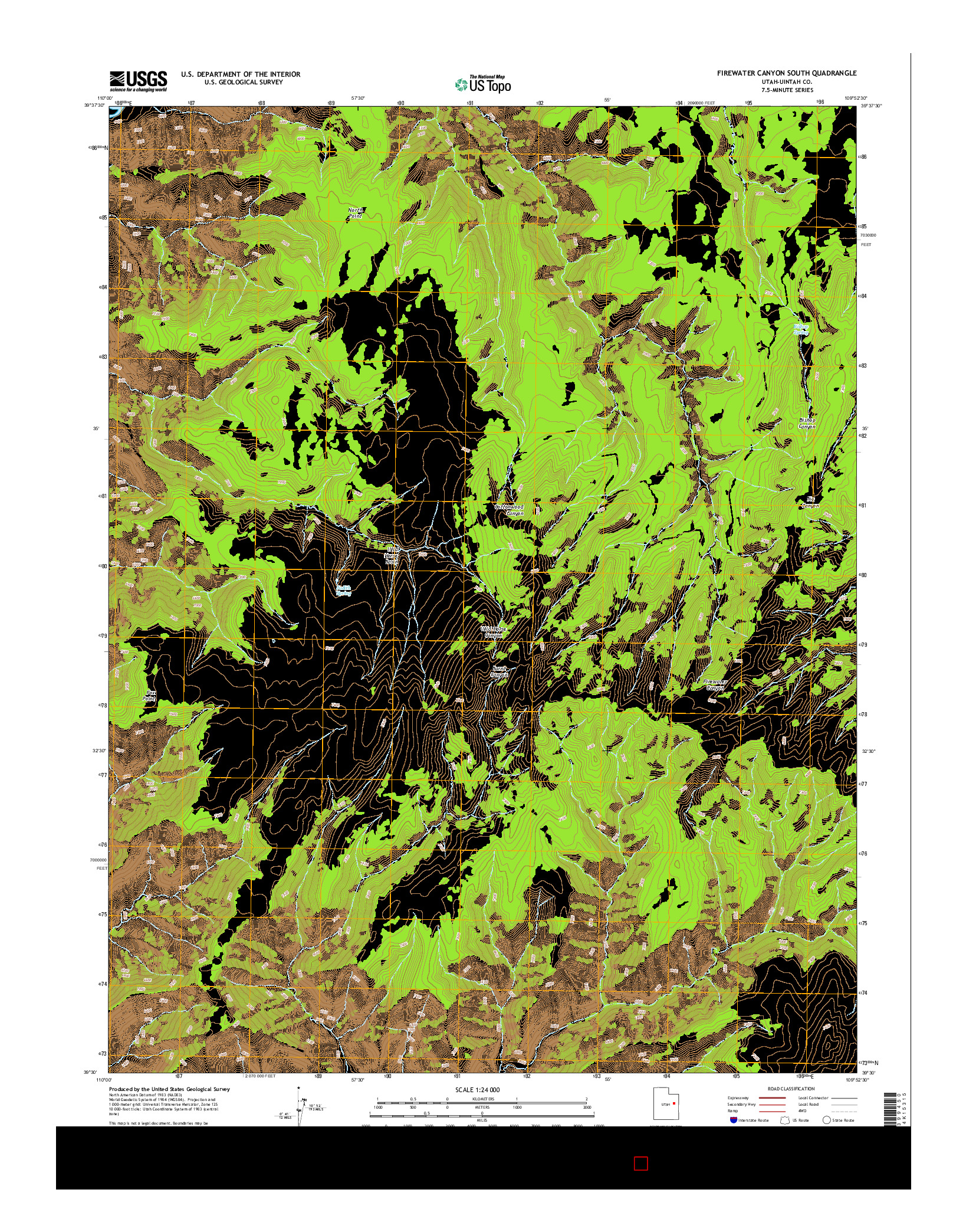 USGS US TOPO 7.5-MINUTE MAP FOR FIREWATER CANYON SOUTH, UT 2014