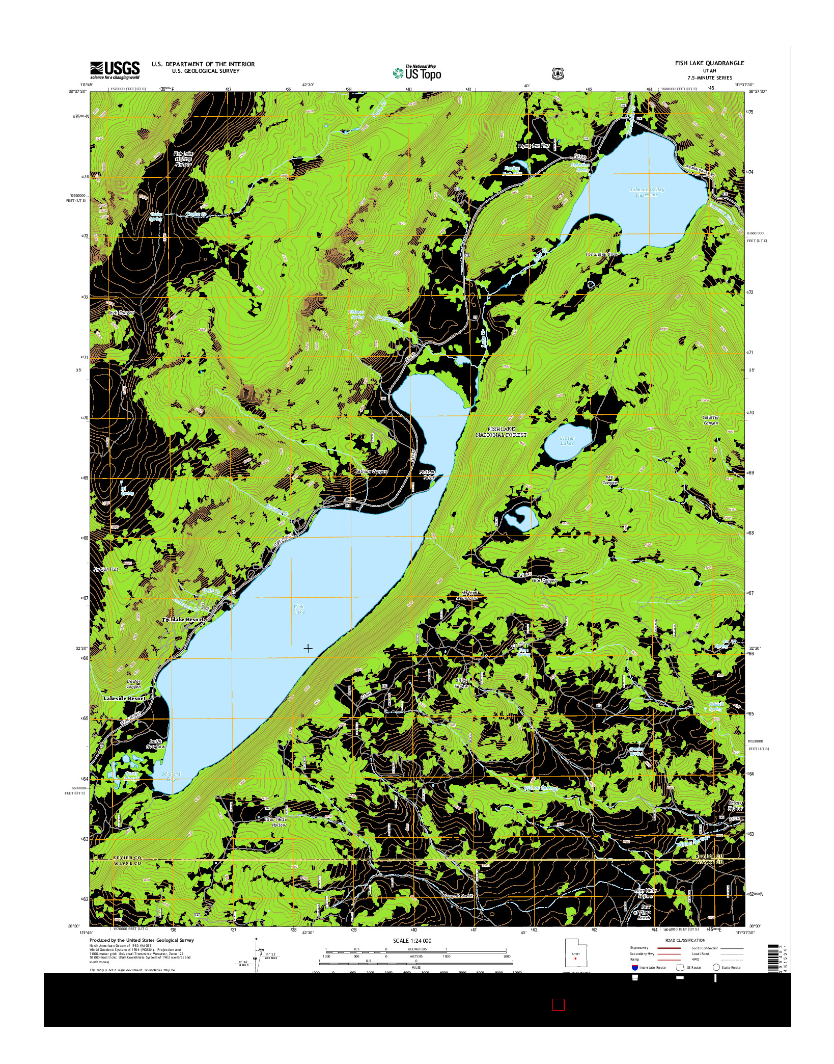 USGS US TOPO 7.5-MINUTE MAP FOR FISH LAKE, UT 2014