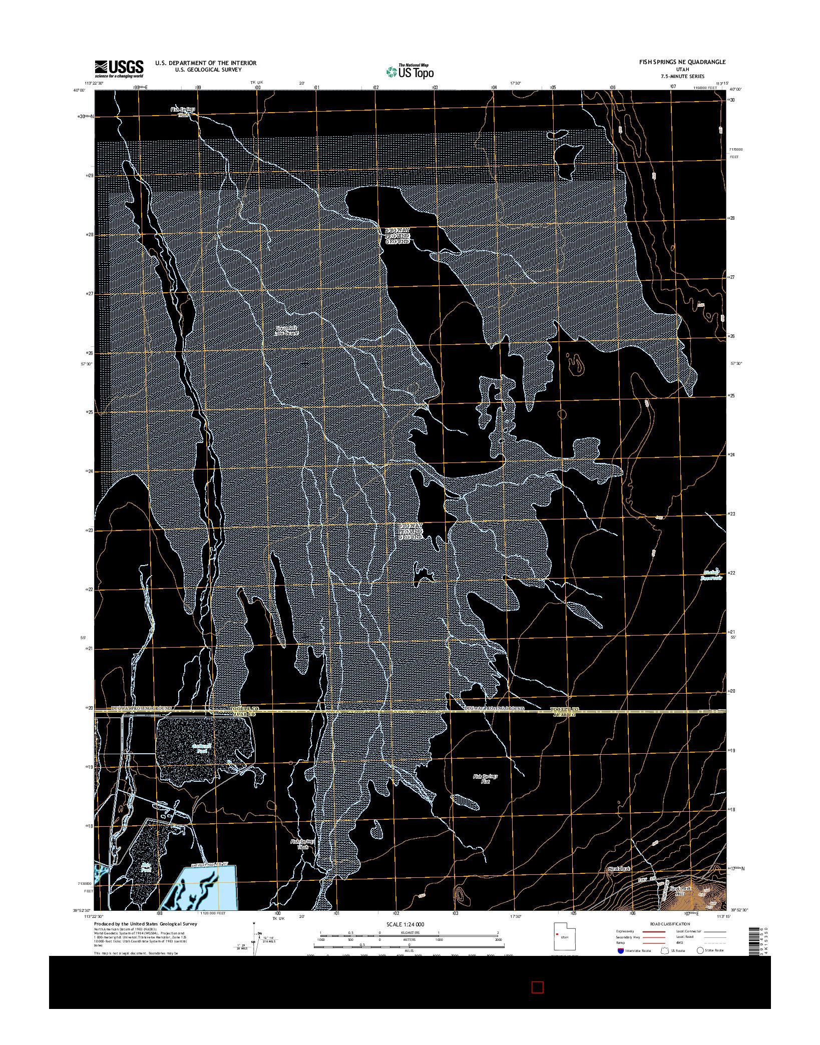 USGS US TOPO 7.5-MINUTE MAP FOR FISH SPRINGS NE, UT 2014