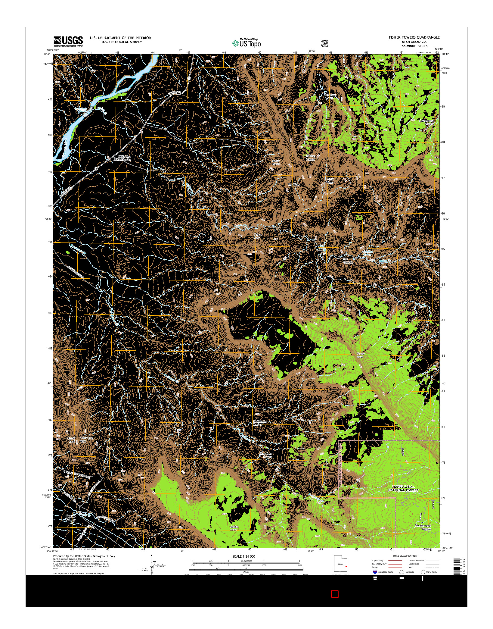USGS US TOPO 7.5-MINUTE MAP FOR FISHER TOWERS, UT 2014