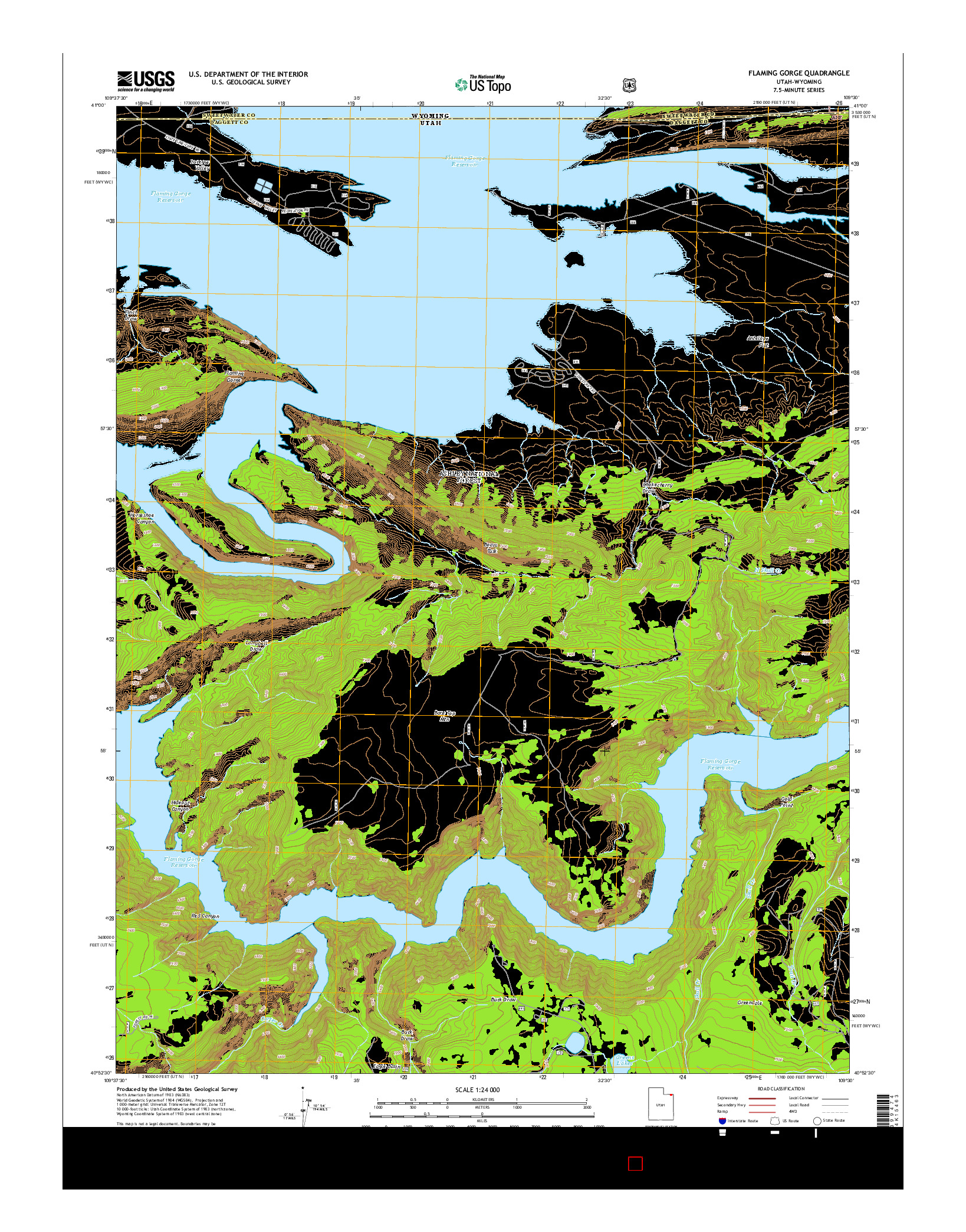 USGS US TOPO 7.5-MINUTE MAP FOR FLAMING GORGE, UT-WY 2014