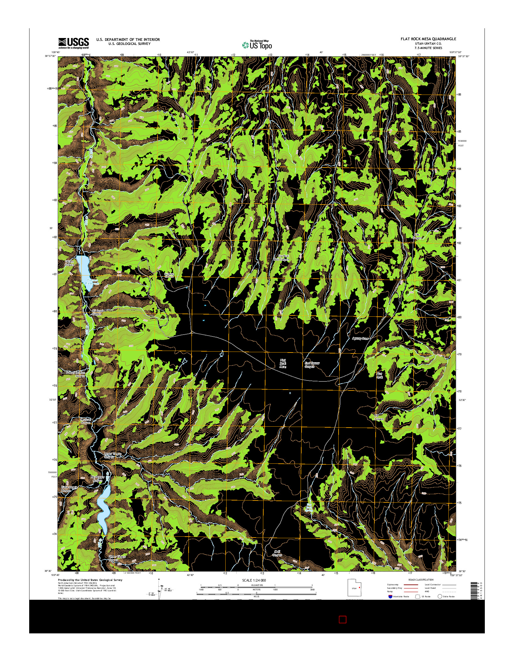 USGS US TOPO 7.5-MINUTE MAP FOR FLAT ROCK MESA, UT 2014