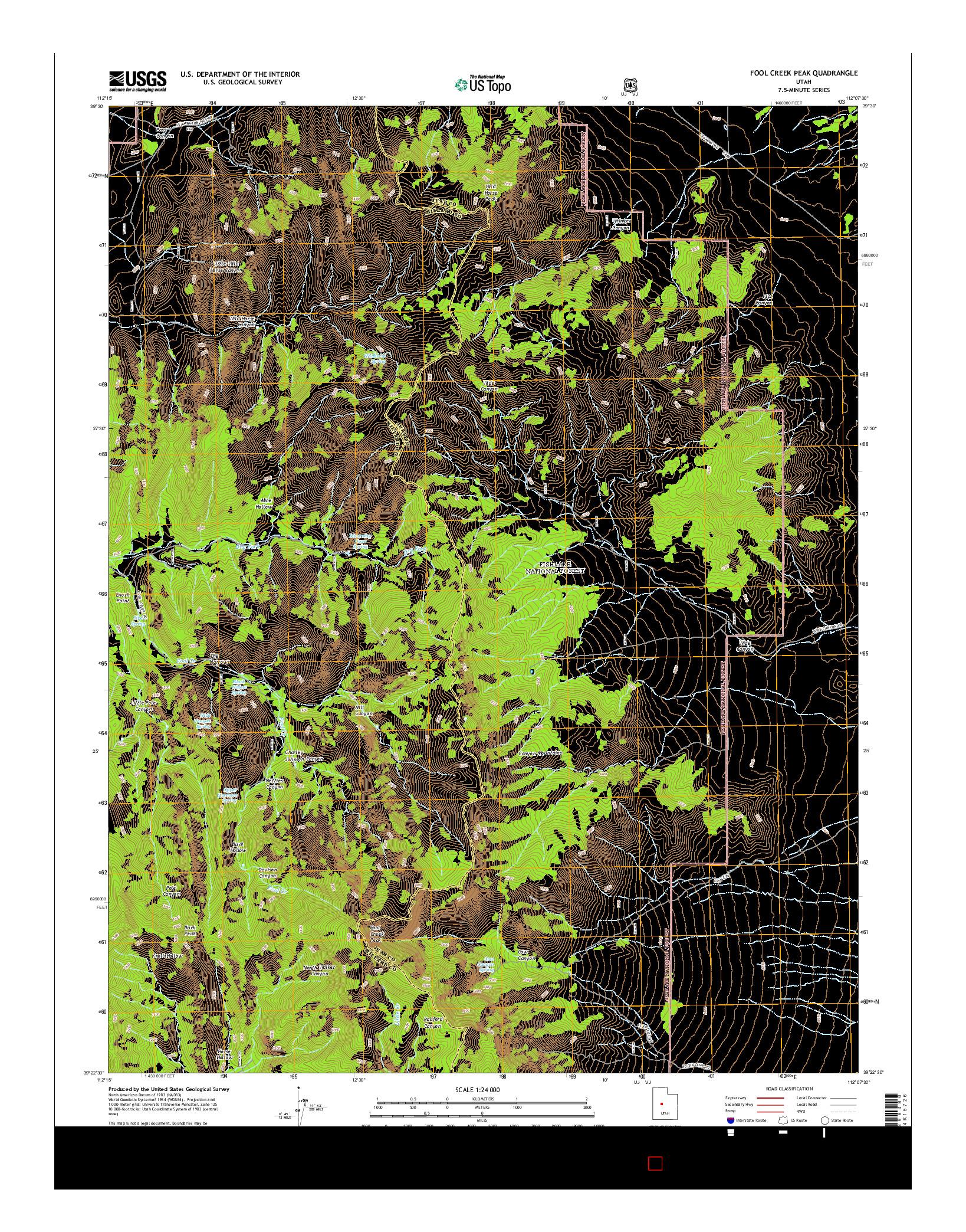 USGS US TOPO 7.5-MINUTE MAP FOR FOOL CREEK PEAK, UT 2014