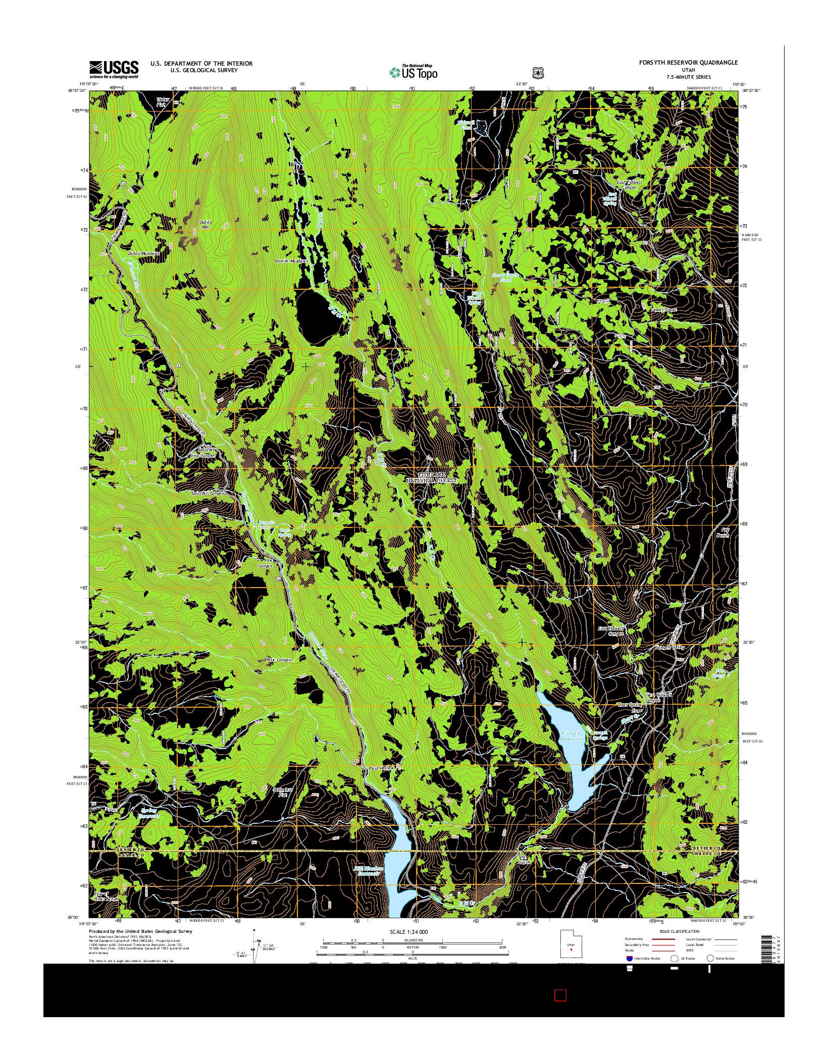 USGS US TOPO 7.5-MINUTE MAP FOR FORSYTH RESERVOIR, UT 2014
