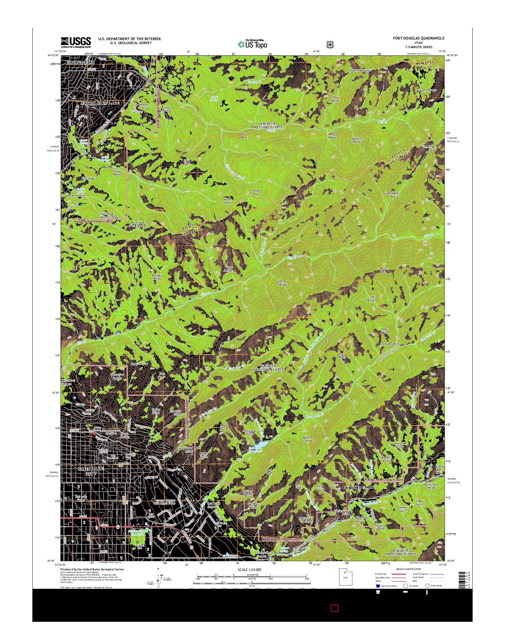 USGS US TOPO 7.5-MINUTE MAP FOR FORT DOUGLAS, UT 2014