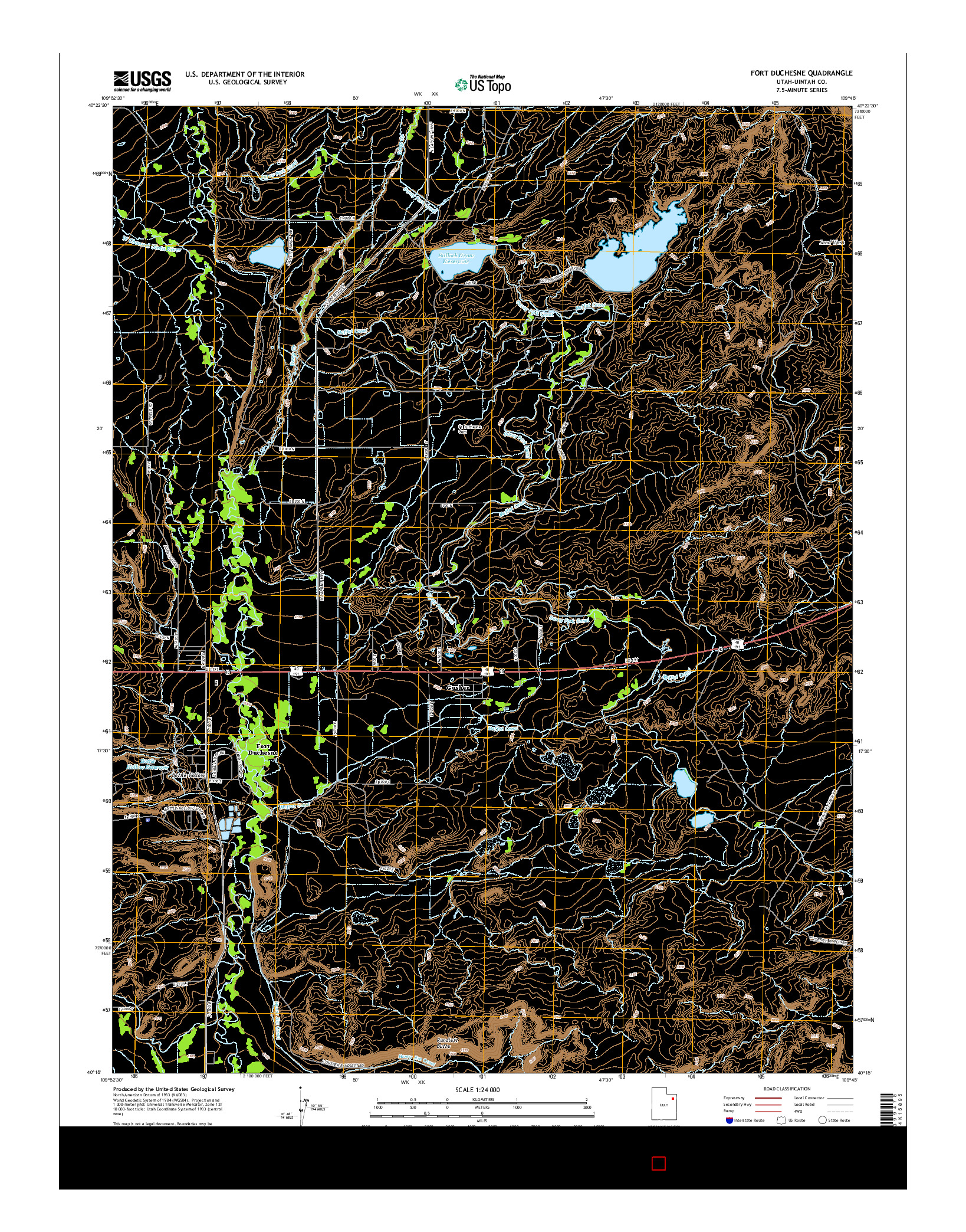 USGS US TOPO 7.5-MINUTE MAP FOR FORT DUCHESNE, UT 2014
