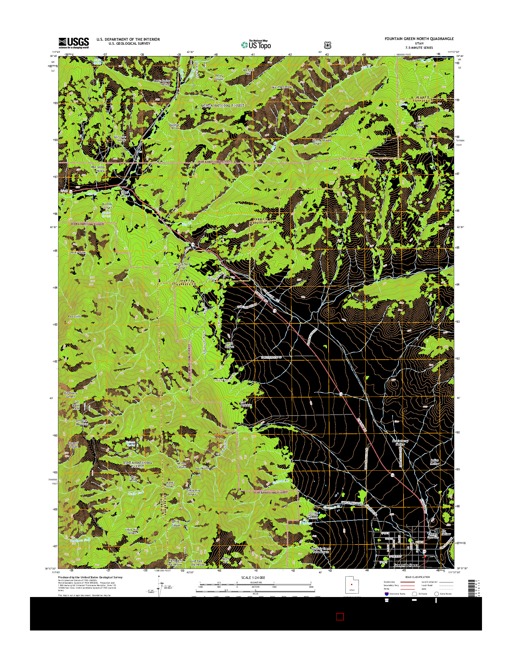USGS US TOPO 7.5-MINUTE MAP FOR FOUNTAIN GREEN NORTH, UT 2014