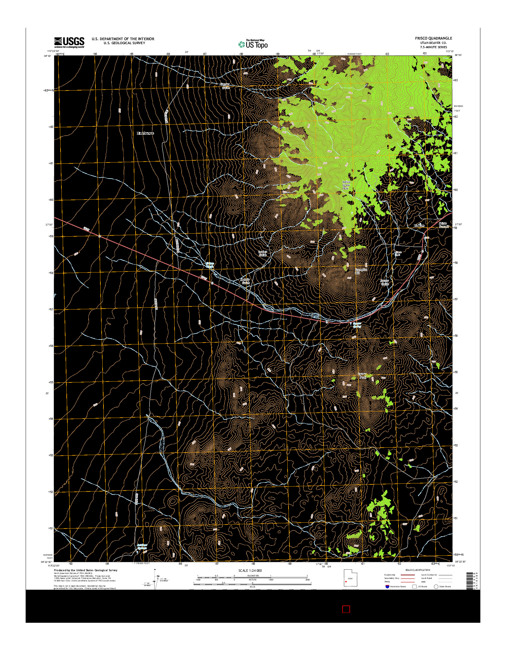 USGS US TOPO 7.5-MINUTE MAP FOR FRISCO, UT 2014