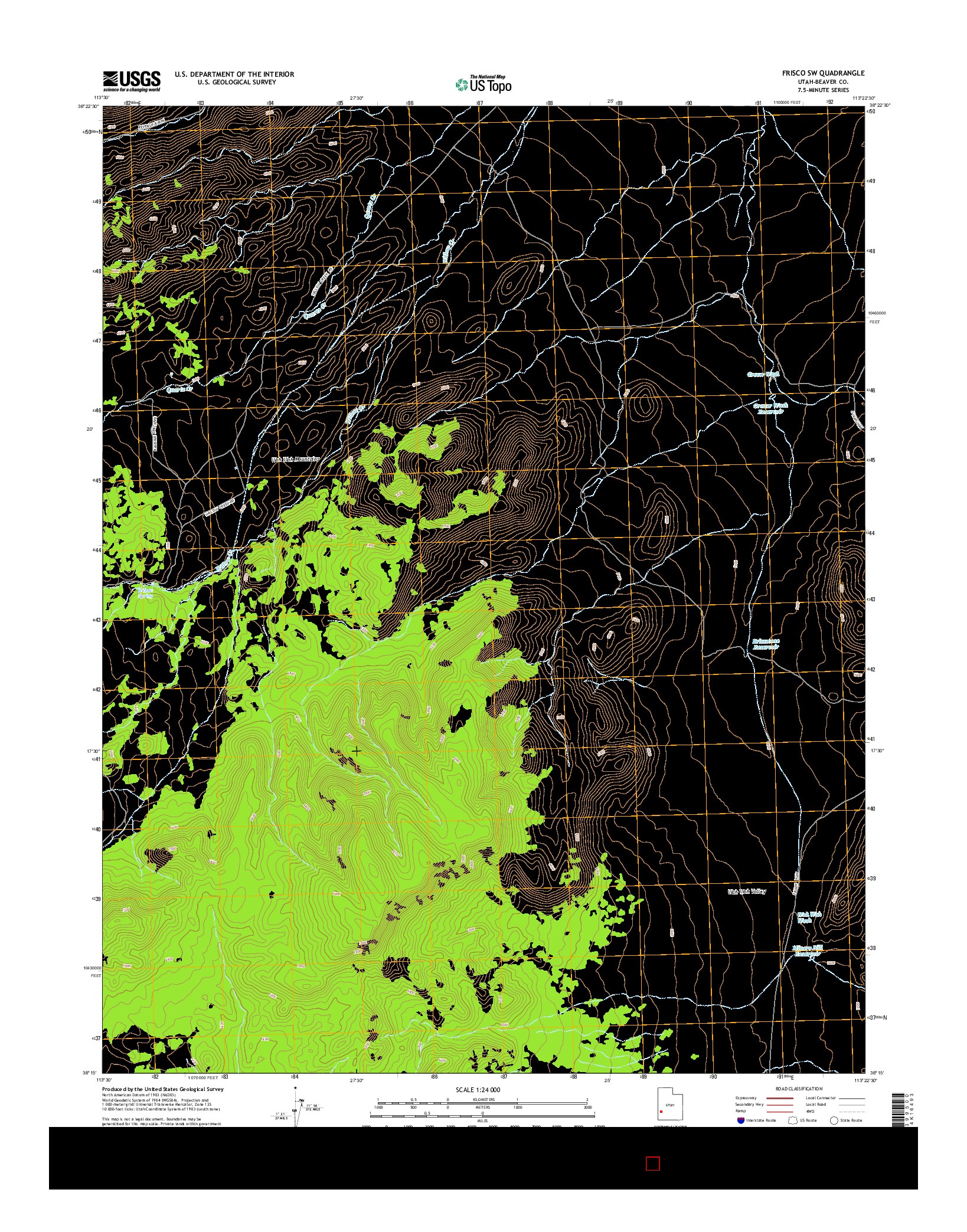 USGS US TOPO 7.5-MINUTE MAP FOR FRISCO SW, UT 2014