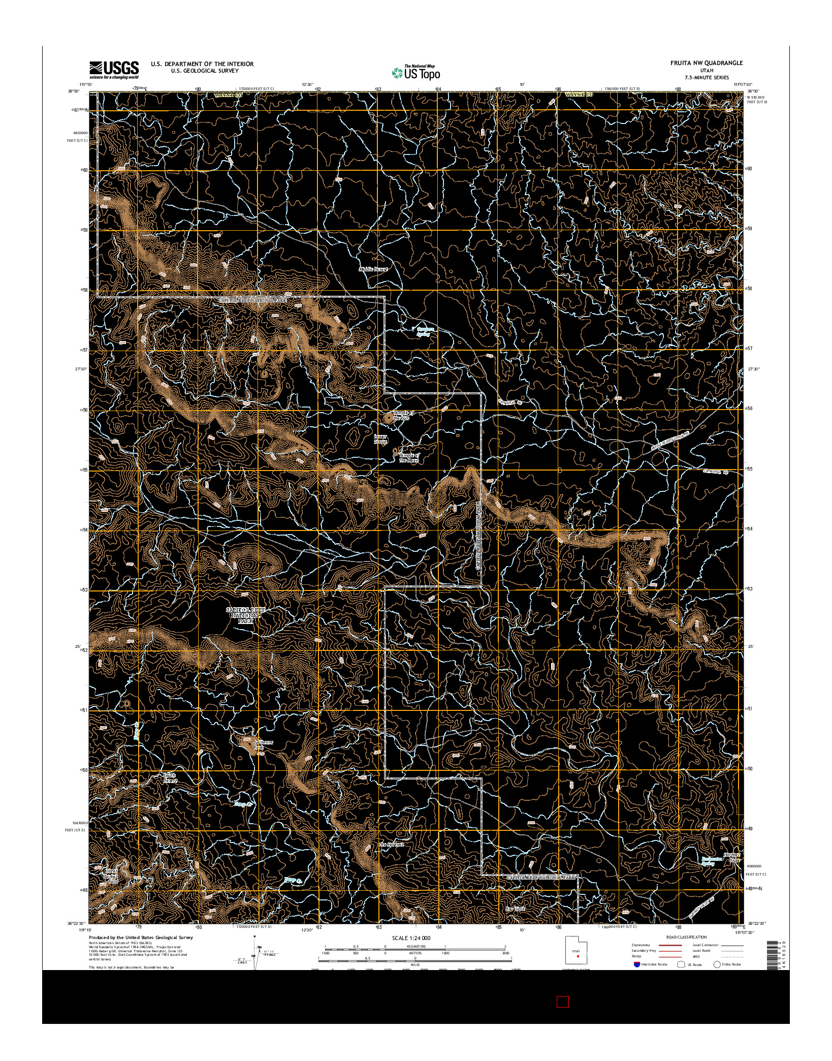 USGS US TOPO 7.5-MINUTE MAP FOR FRUITA NW, UT 2014