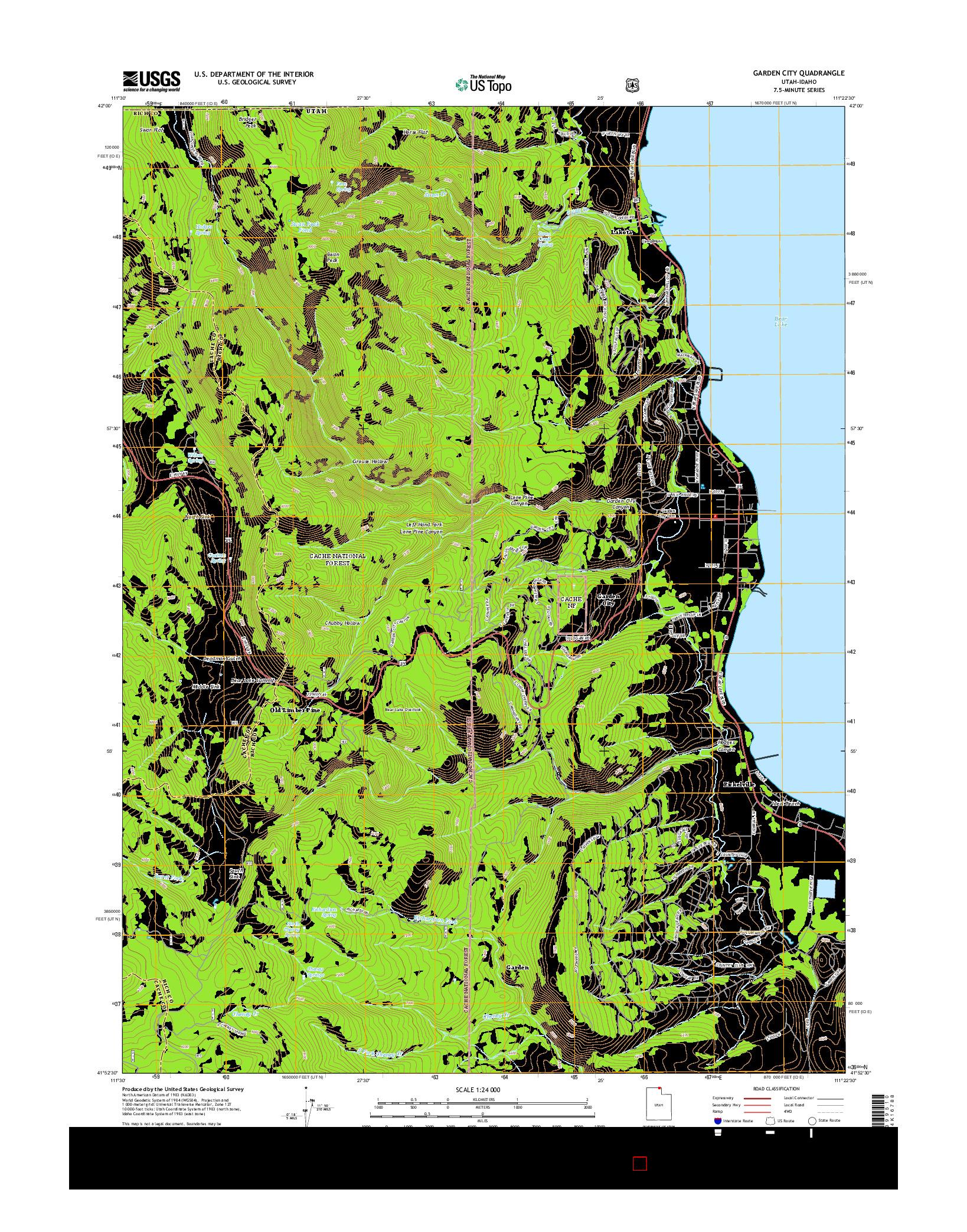 USGS US TOPO 7.5-MINUTE MAP FOR GARDEN CITY, UT-ID 2014