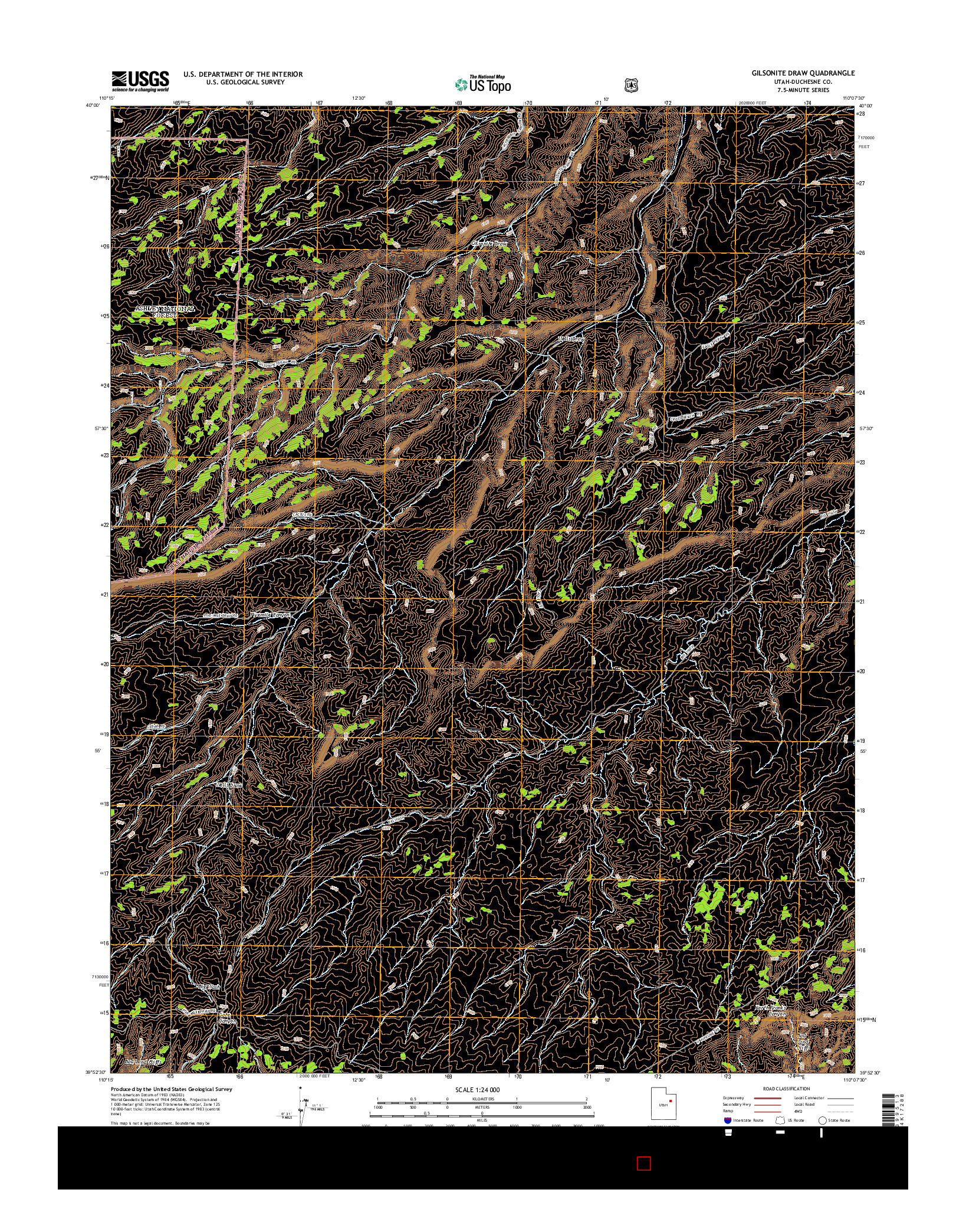USGS US TOPO 7.5-MINUTE MAP FOR GILSONITE DRAW, UT 2014