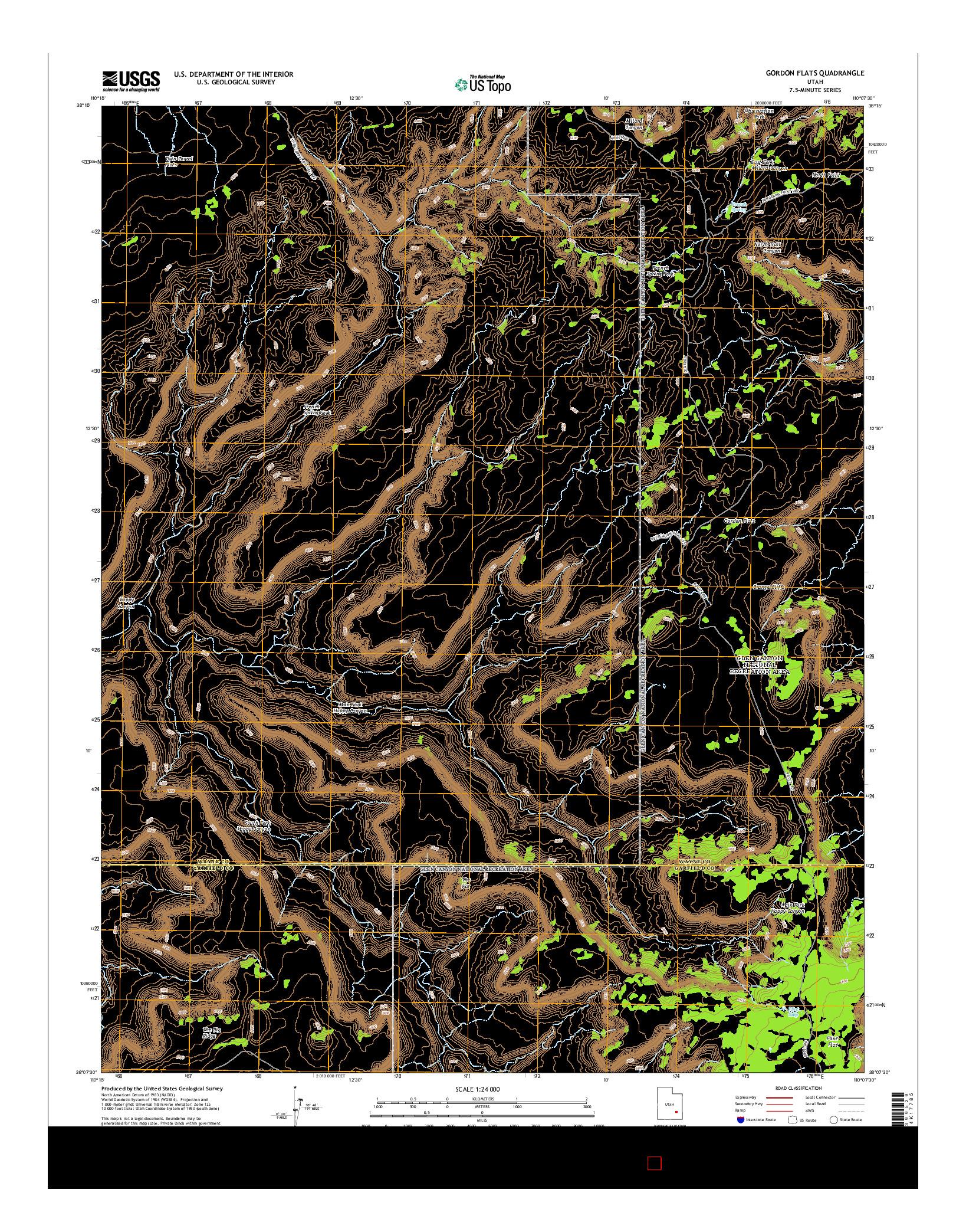 USGS US TOPO 7.5-MINUTE MAP FOR GORDON FLATS, UT 2014