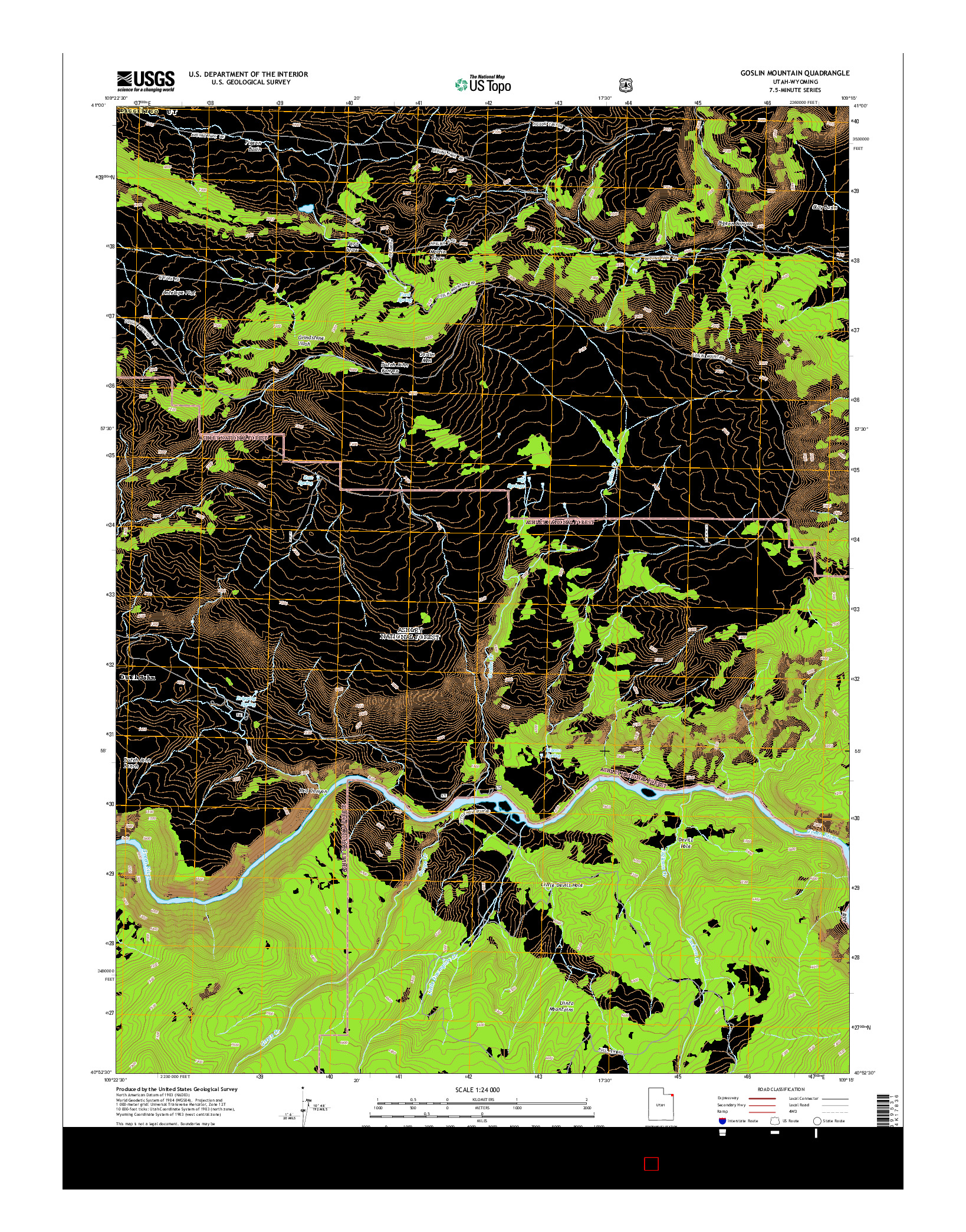 USGS US TOPO 7.5-MINUTE MAP FOR GOSLIN MOUNTAIN, UT-WY 2014