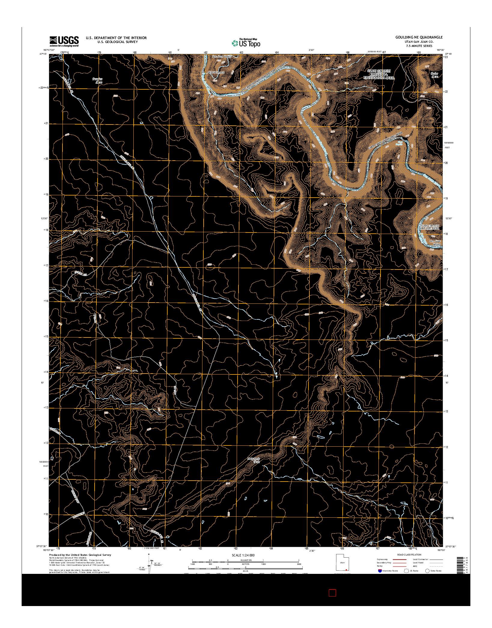 USGS US TOPO 7.5-MINUTE MAP FOR GOULDING NE, UT 2014