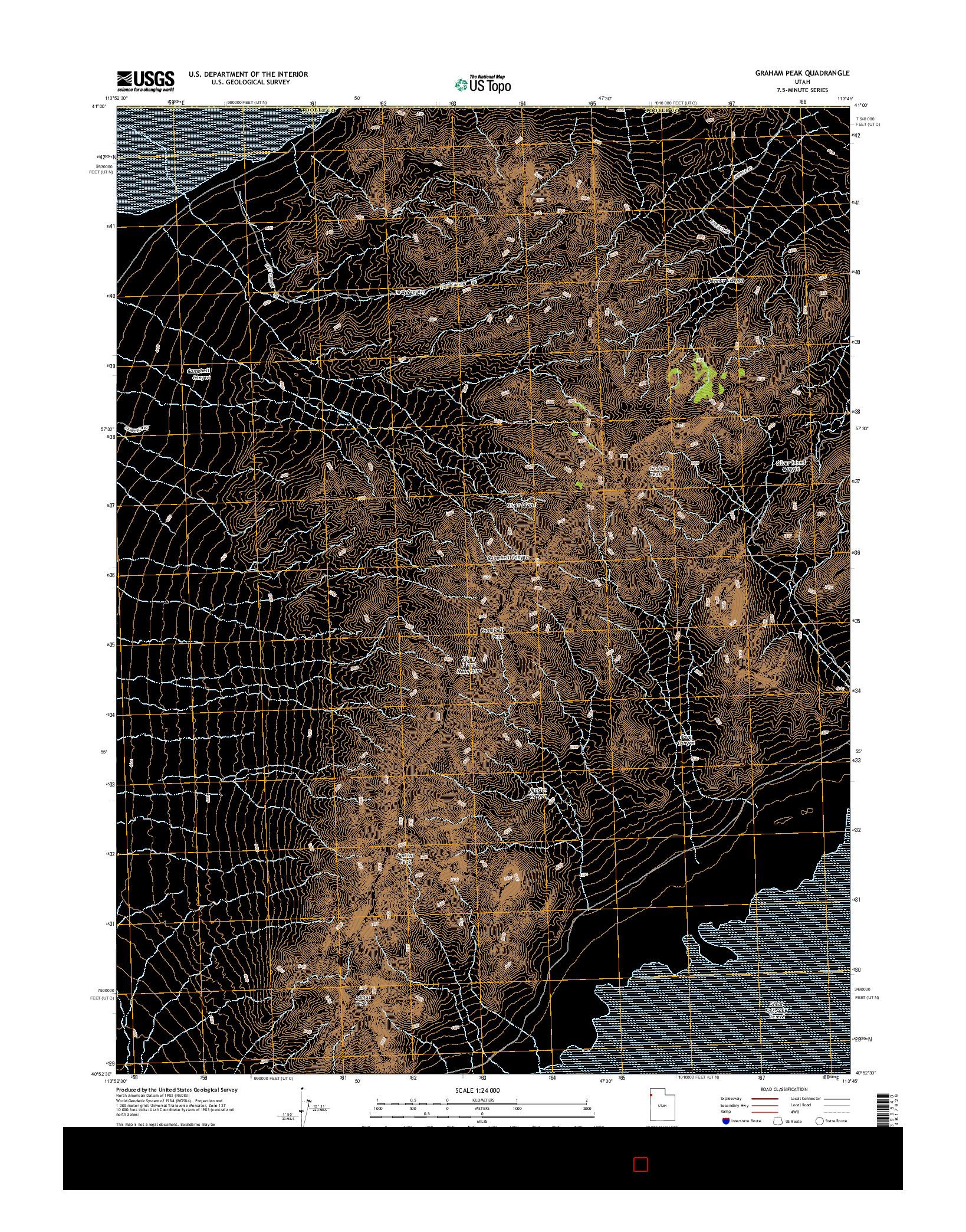 USGS US TOPO 7.5-MINUTE MAP FOR GRAHAM PEAK, UT 2014