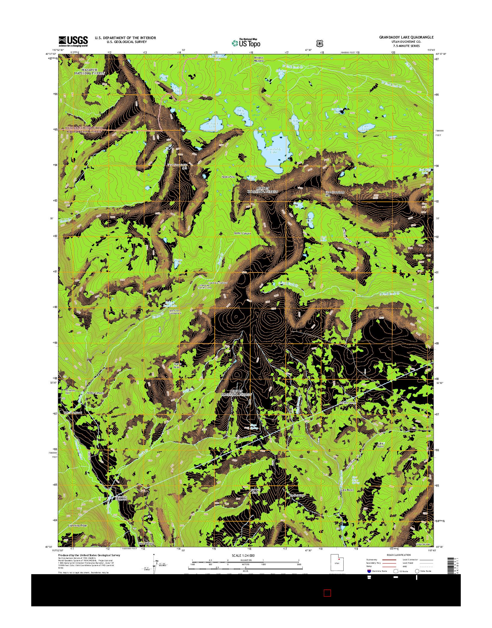 USGS US TOPO 7.5-MINUTE MAP FOR GRANDADDY LAKE, UT 2014