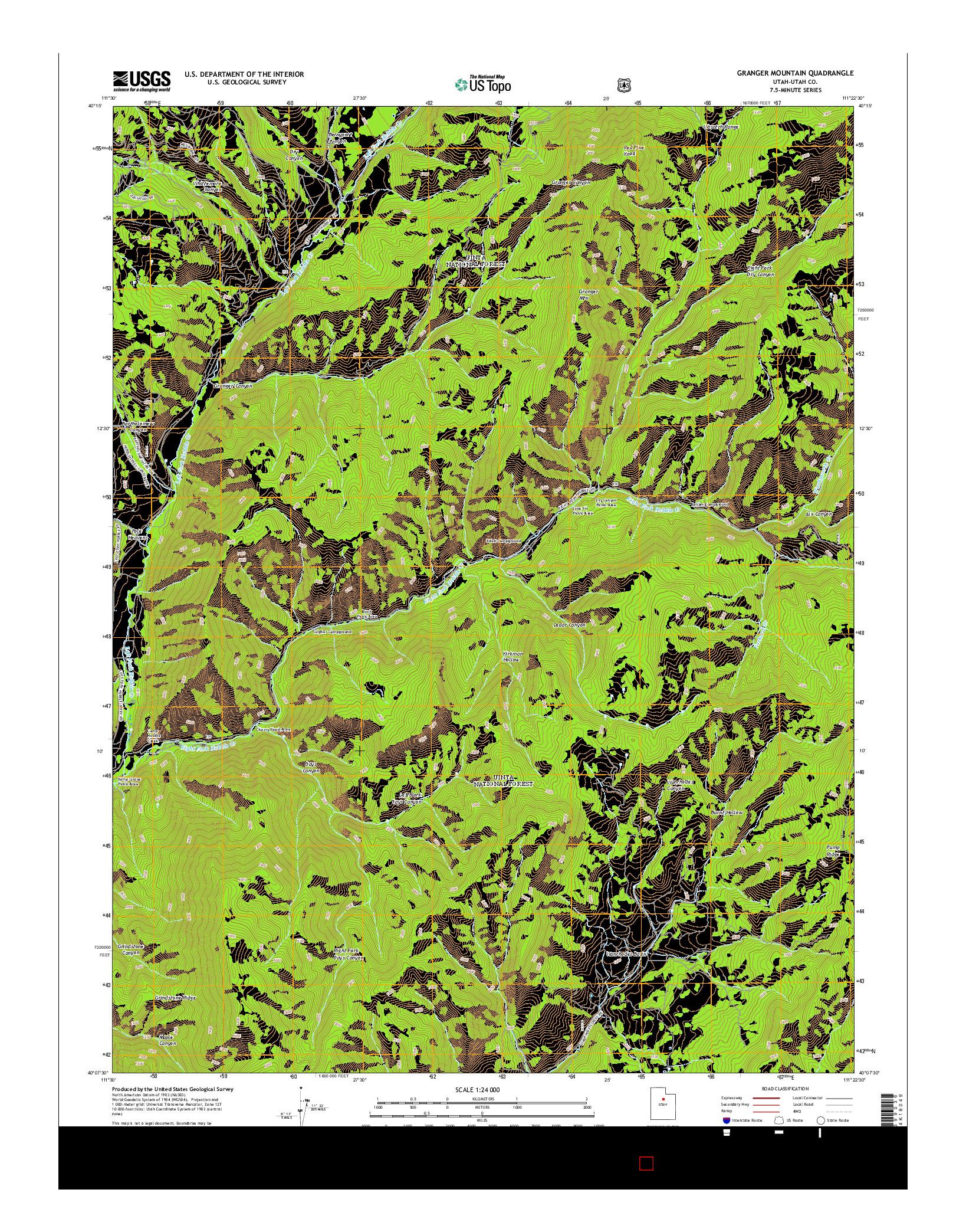 USGS US TOPO 7.5-MINUTE MAP FOR GRANGER MOUNTAIN, UT 2014