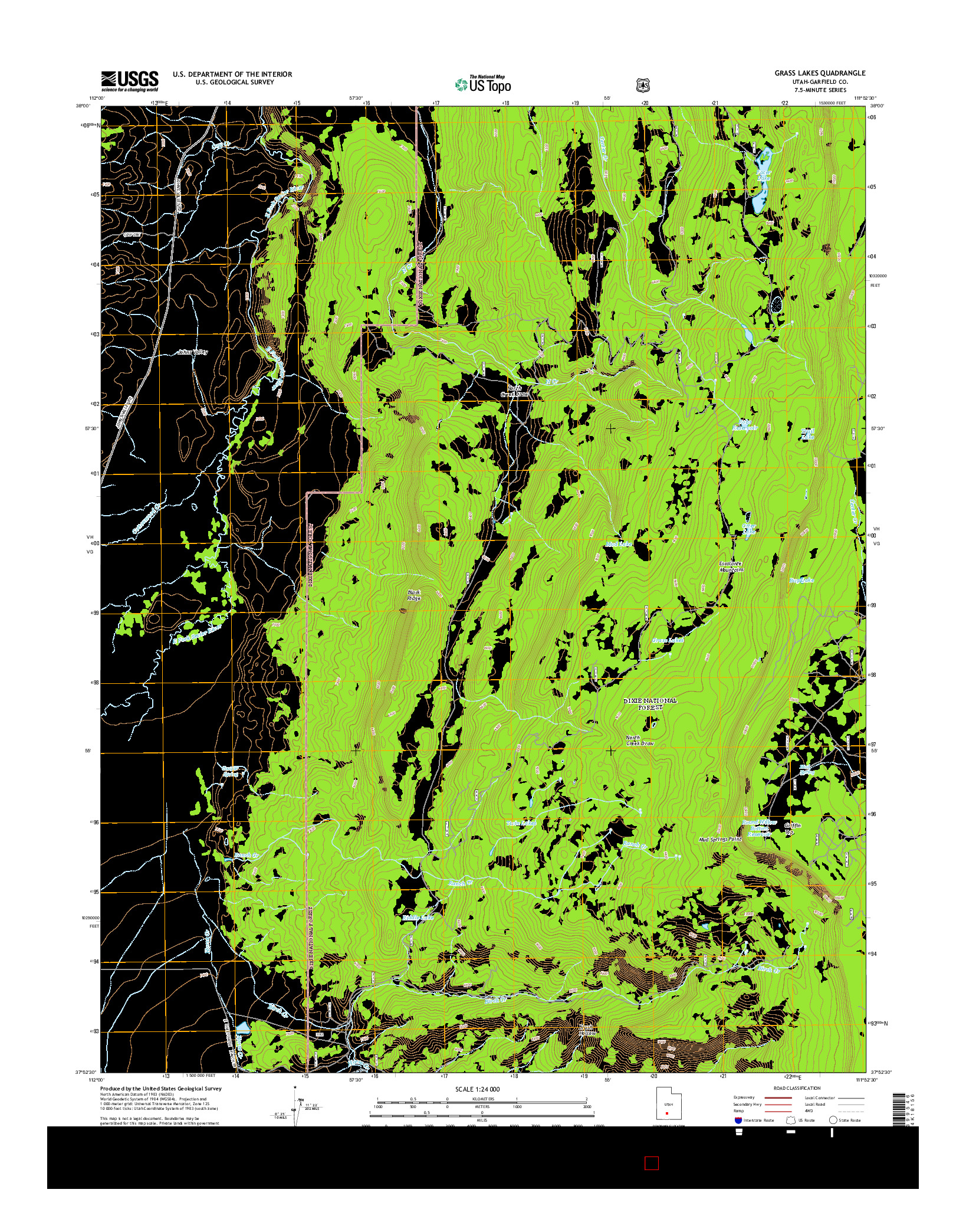 USGS US TOPO 7.5-MINUTE MAP FOR GRASS LAKES, UT 2014