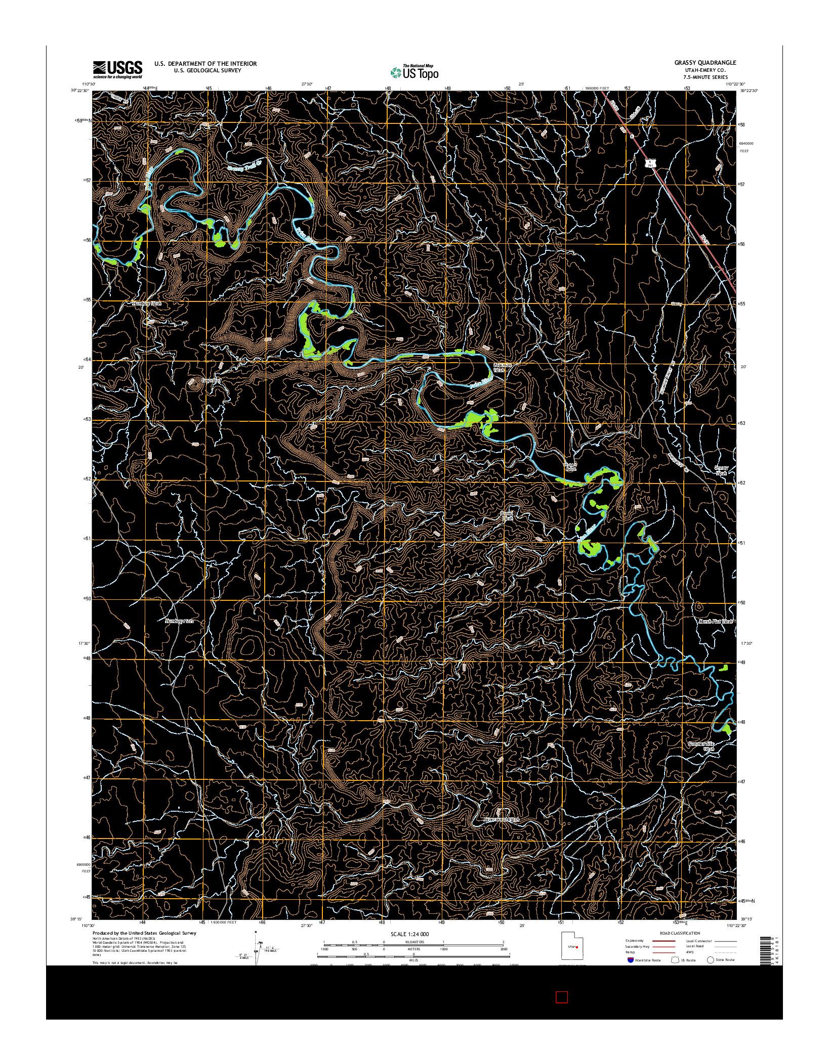 USGS US TOPO 7.5-MINUTE MAP FOR GRASSY, UT 2014