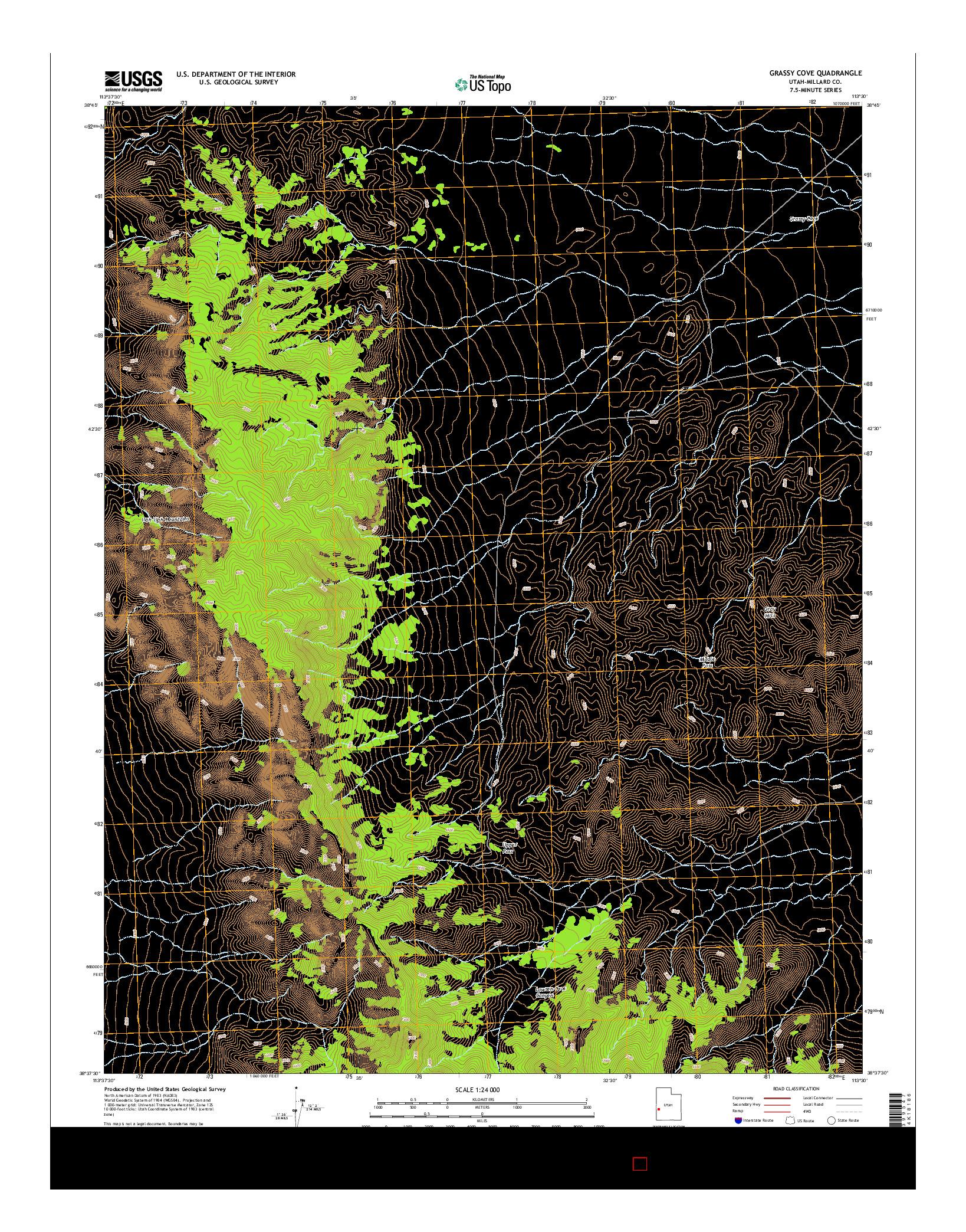USGS US TOPO 7.5-MINUTE MAP FOR GRASSY COVE, UT 2014