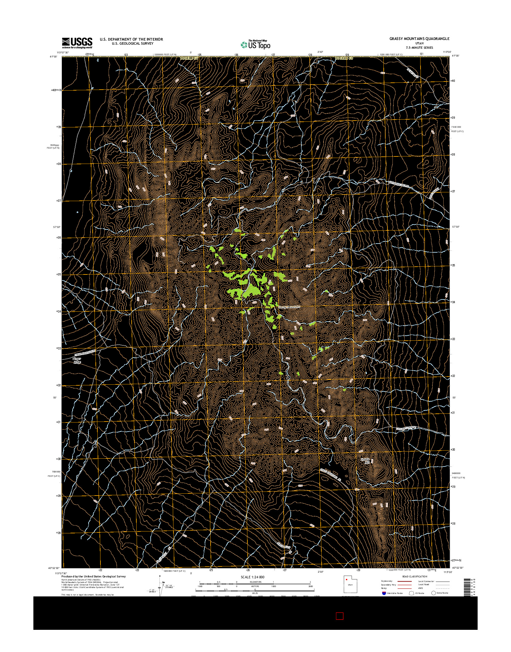 USGS US TOPO 7.5-MINUTE MAP FOR GRASSY MOUNTAINS, UT 2014