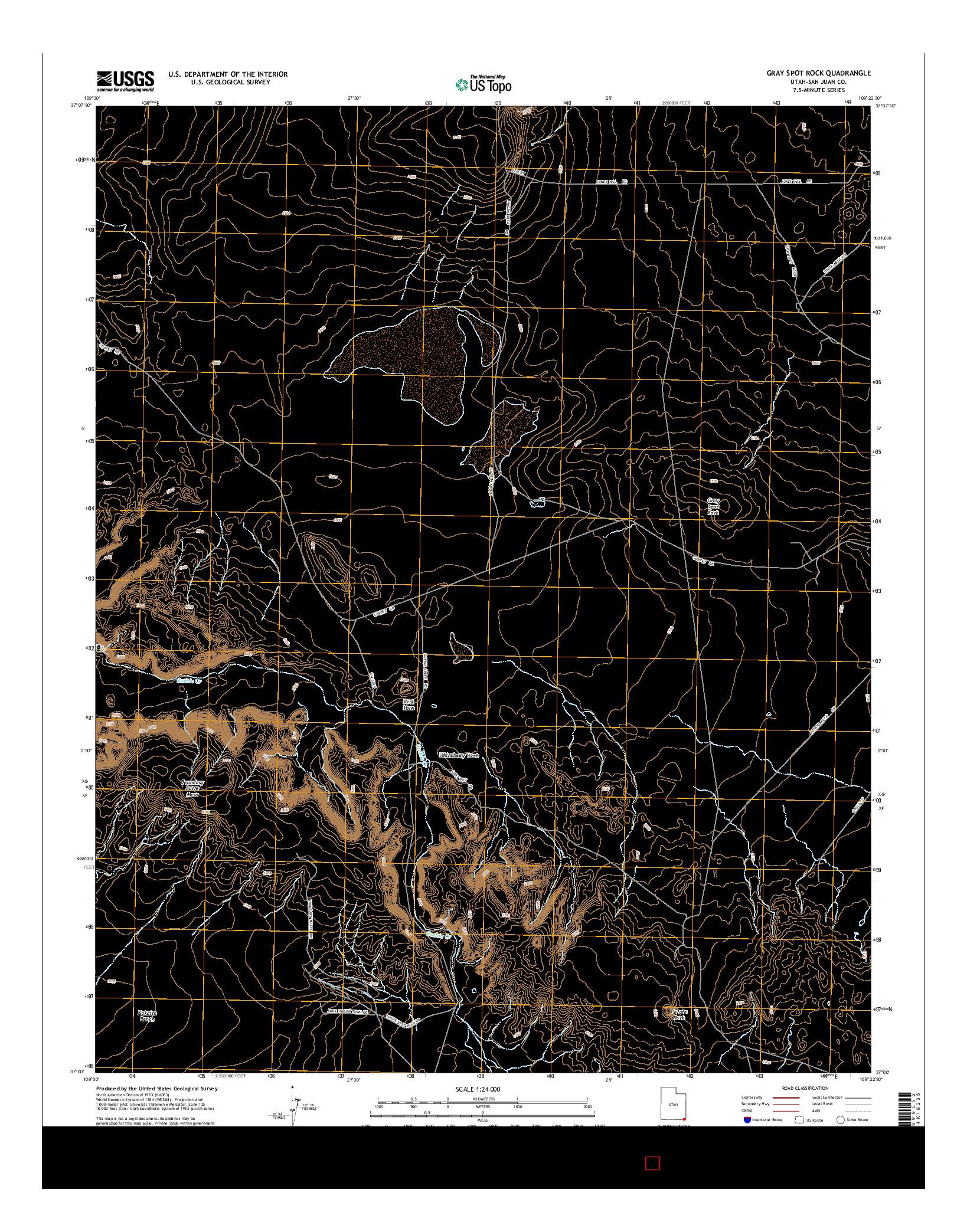 USGS US TOPO 7.5-MINUTE MAP FOR GRAY SPOT ROCK, UT 2014
