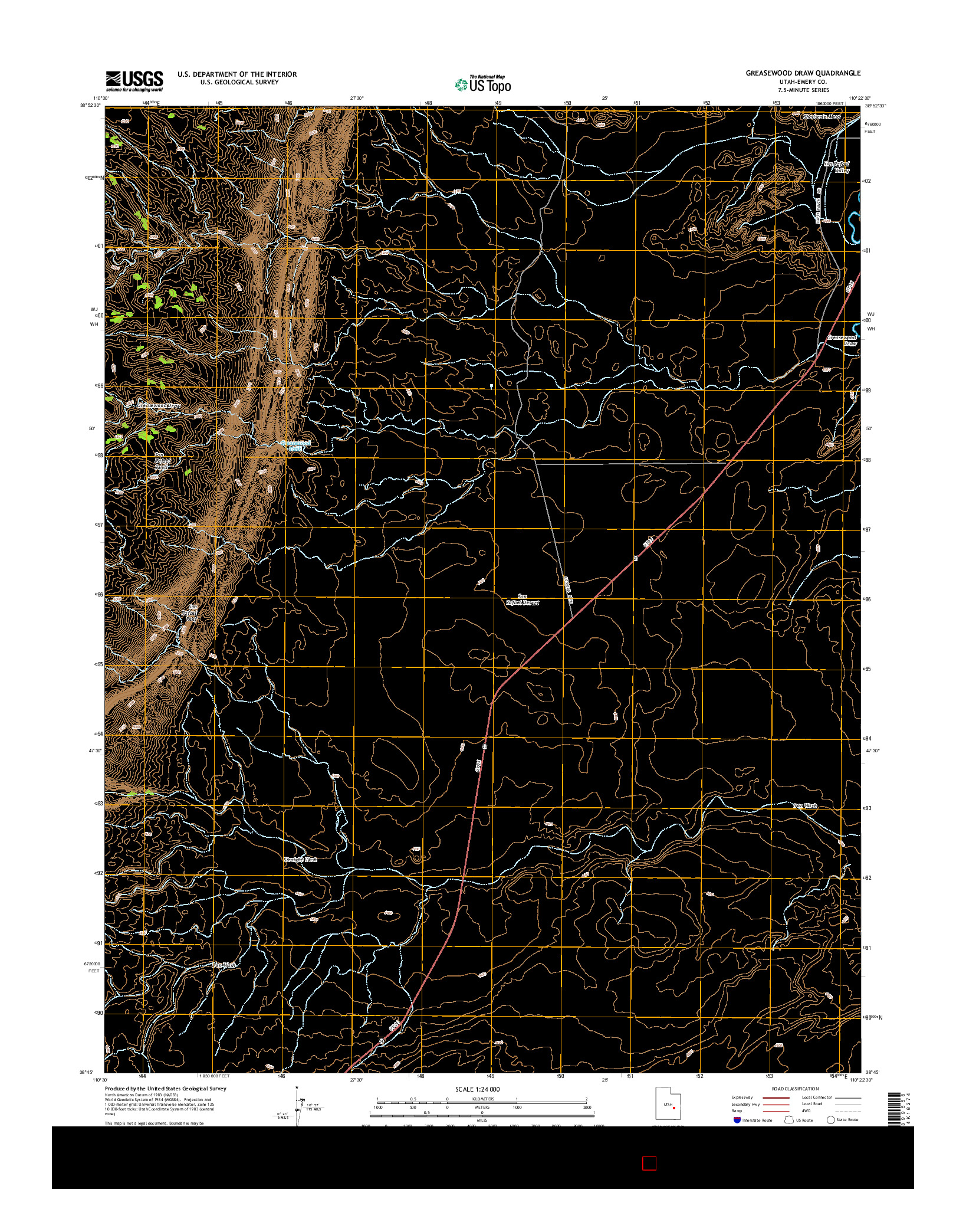 USGS US TOPO 7.5-MINUTE MAP FOR GREASEWOOD DRAW, UT 2014