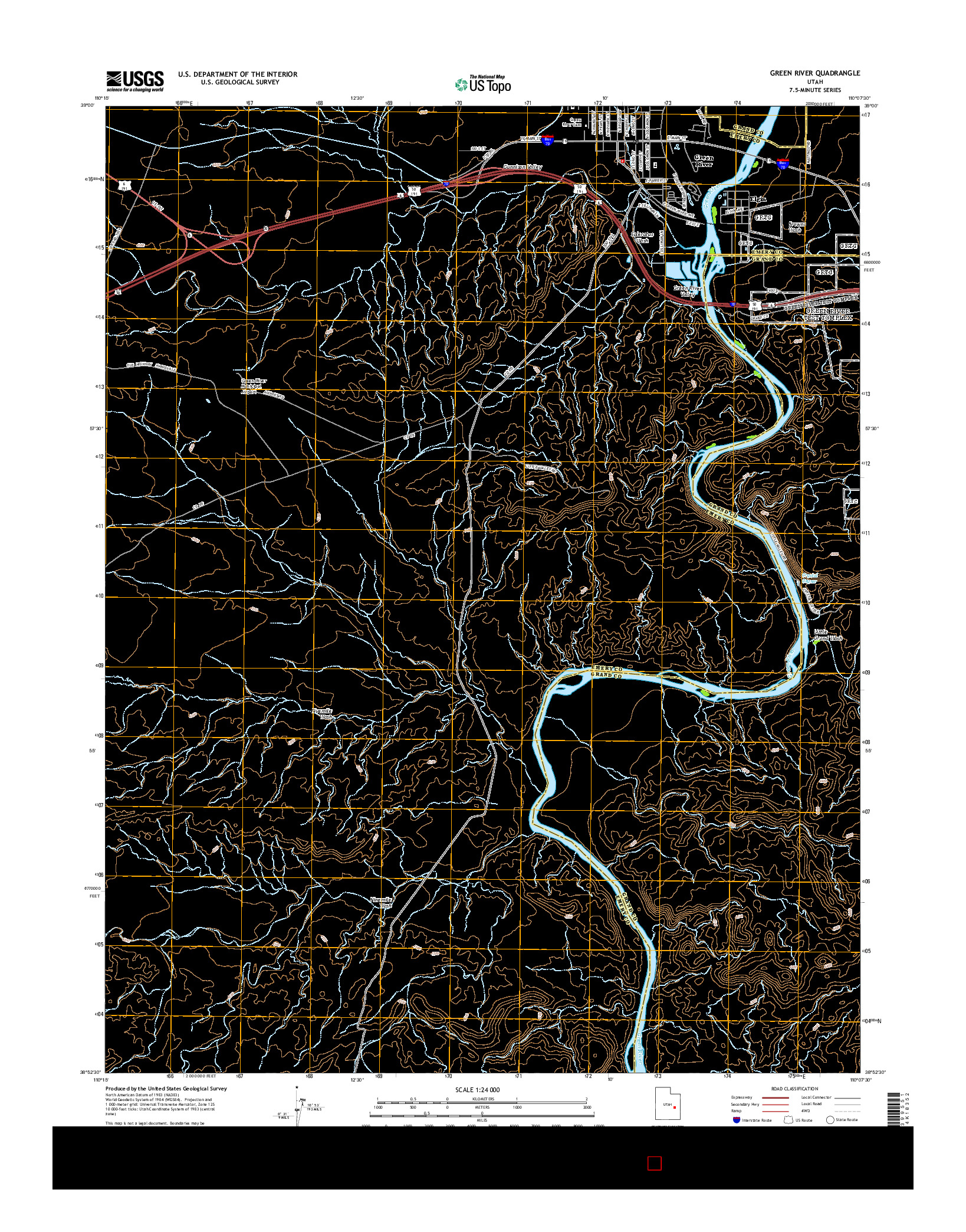 USGS US TOPO 7.5-MINUTE MAP FOR GREEN RIVER, UT 2014