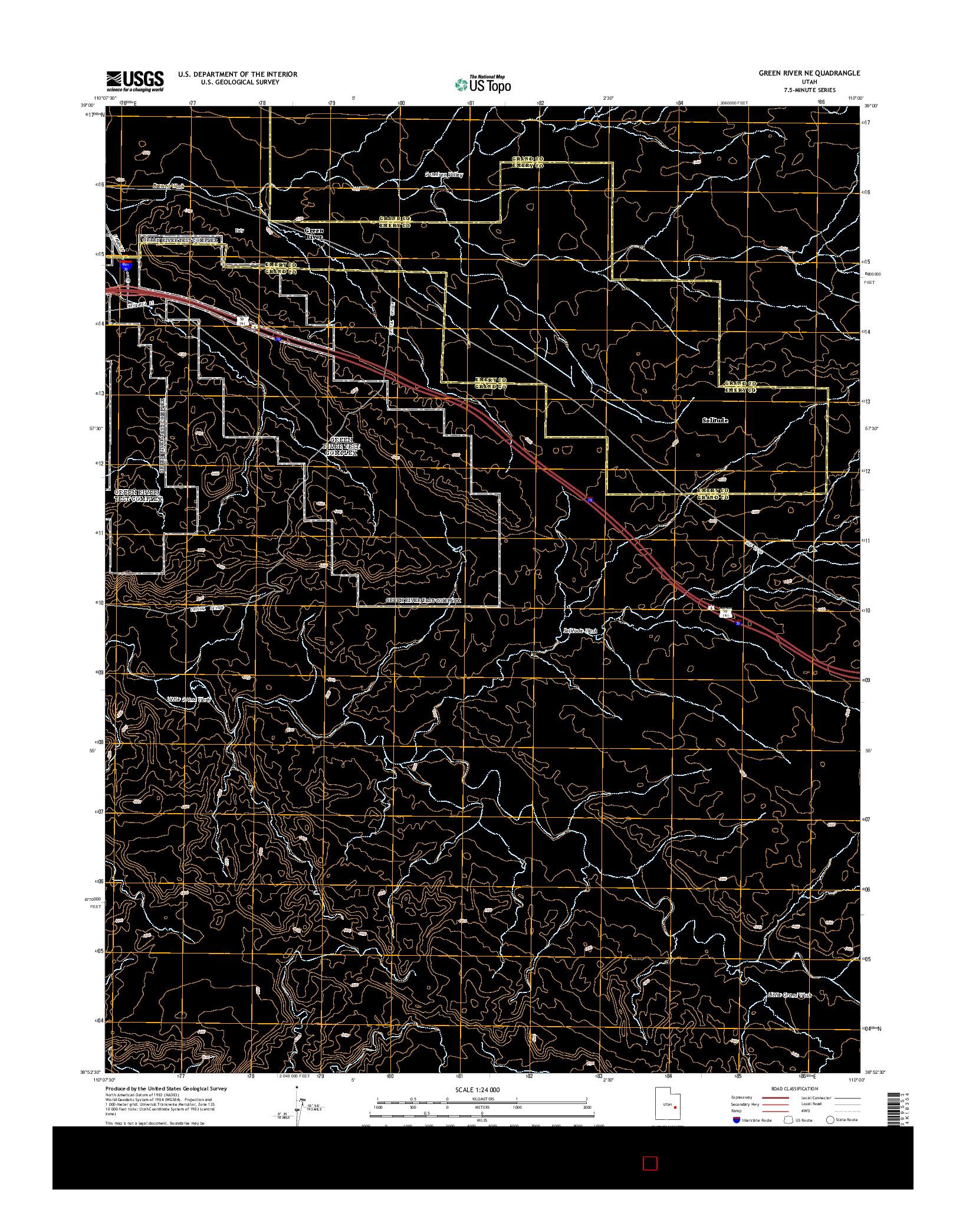 USGS US TOPO 7.5-MINUTE MAP FOR GREEN RIVER NE, UT 2014
