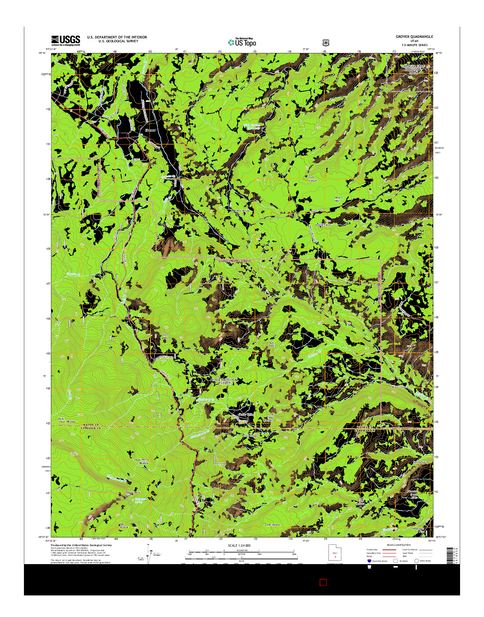 USGS US TOPO 7.5-MINUTE MAP FOR GROVER, UT 2014