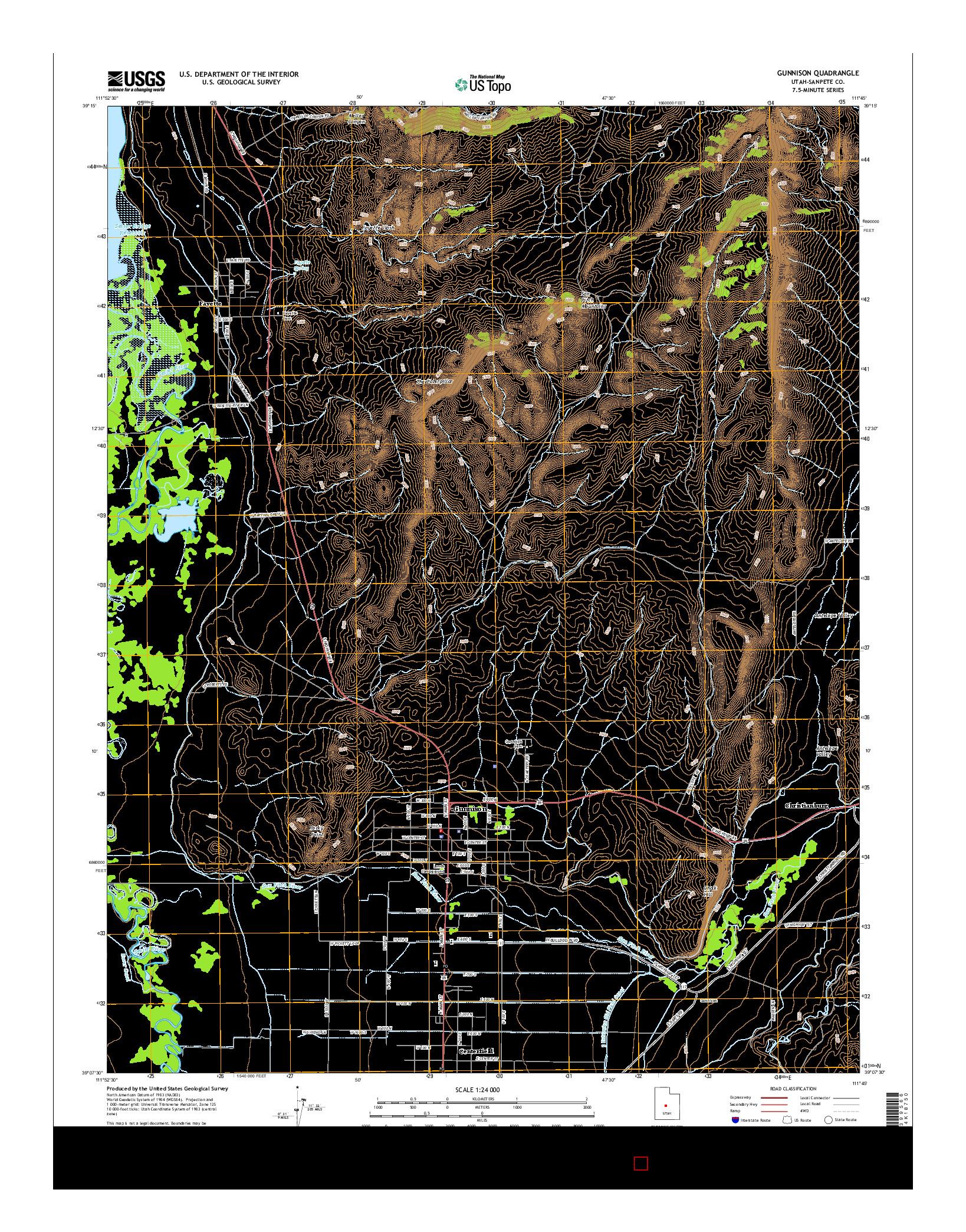 USGS US TOPO 7.5-MINUTE MAP FOR GUNNISON, UT 2014
