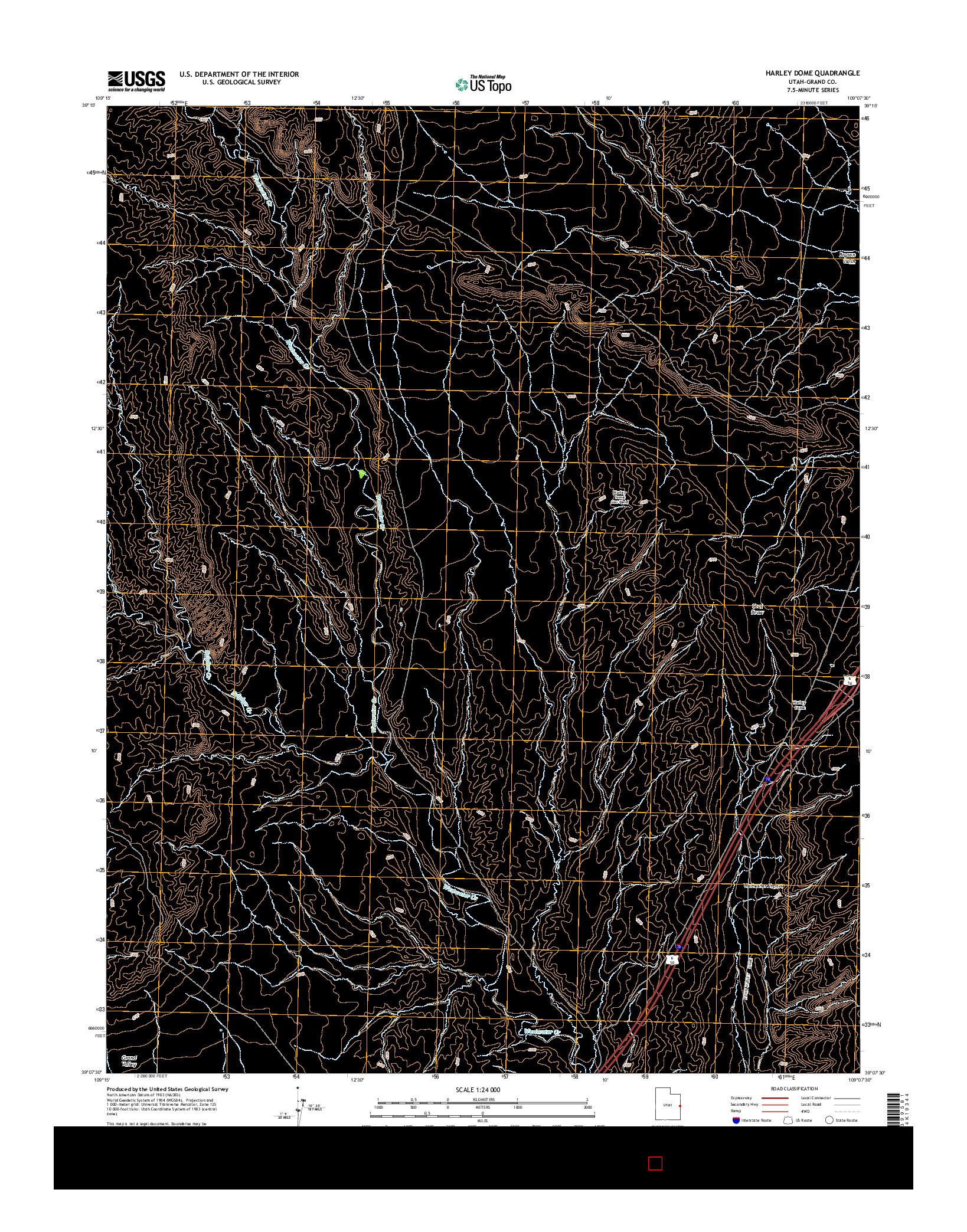 USGS US TOPO 7.5-MINUTE MAP FOR HARLEY DOME, UT 2014