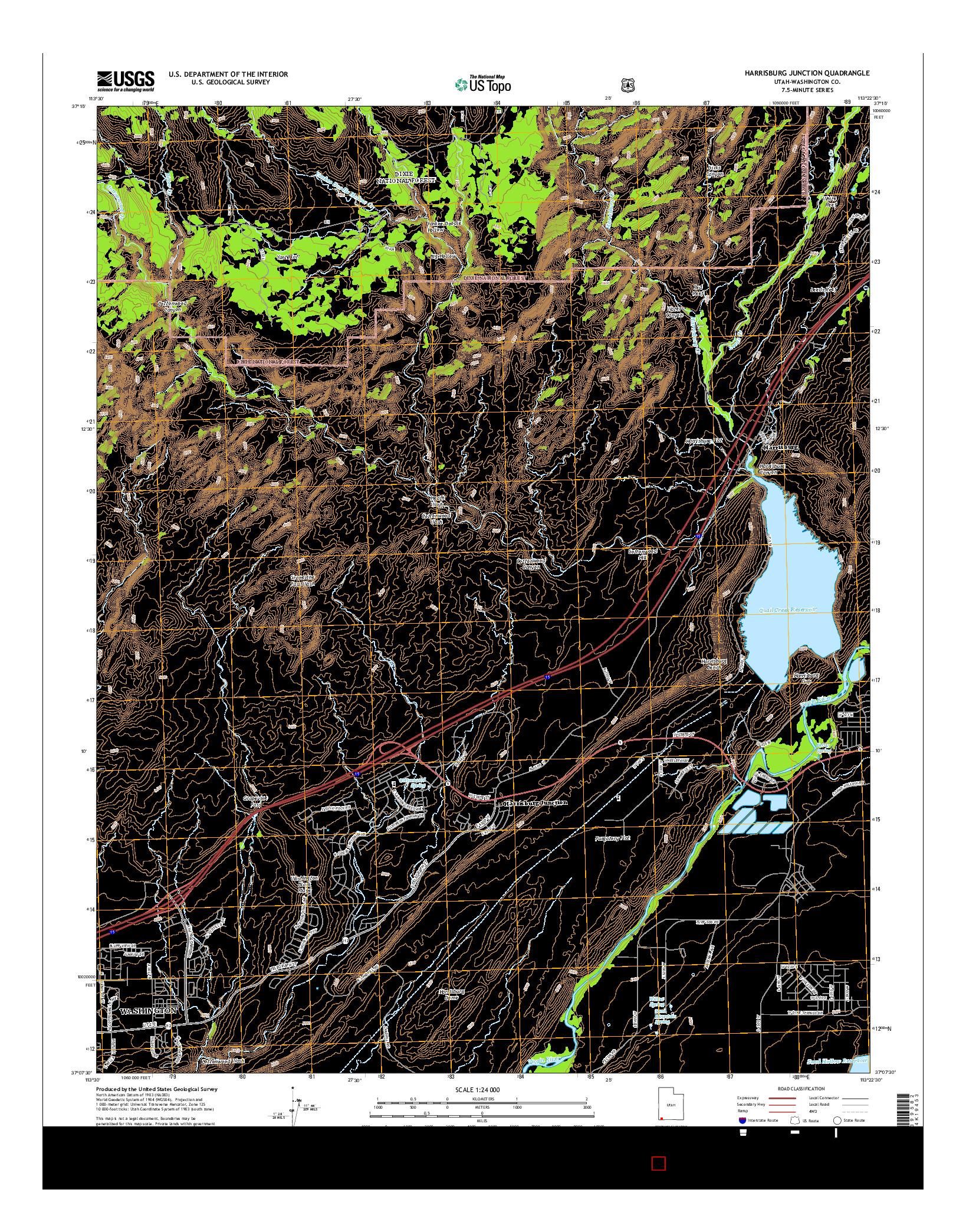 USGS US TOPO 7.5-MINUTE MAP FOR HARRISBURG JUNCTION, UT 2014