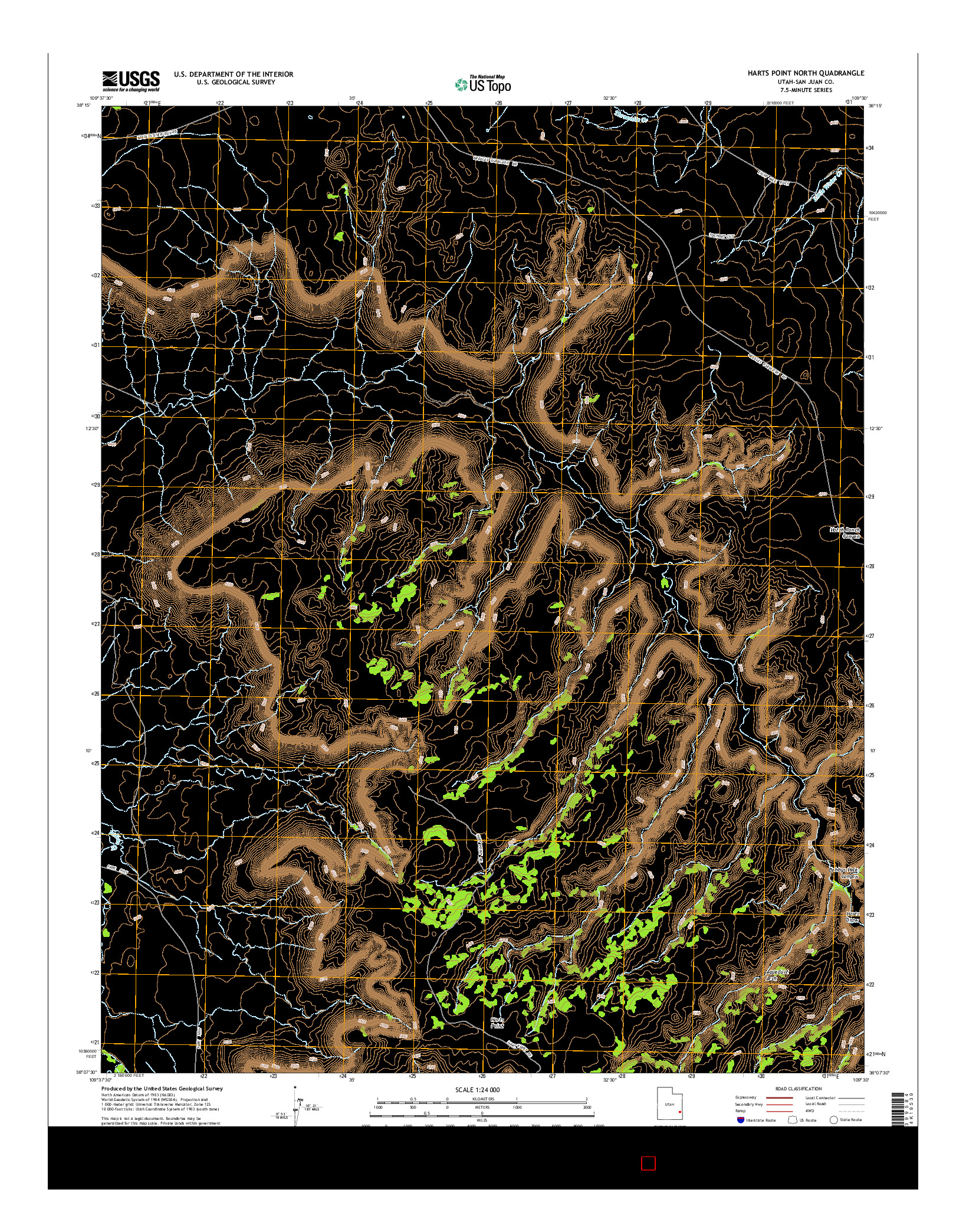 USGS US TOPO 7.5-MINUTE MAP FOR HARTS POINT NORTH, UT 2014
