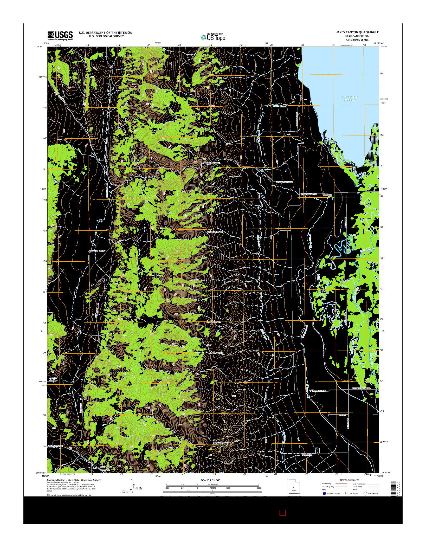 USGS US TOPO 7.5-MINUTE MAP FOR HAYES CANYON, UT 2014