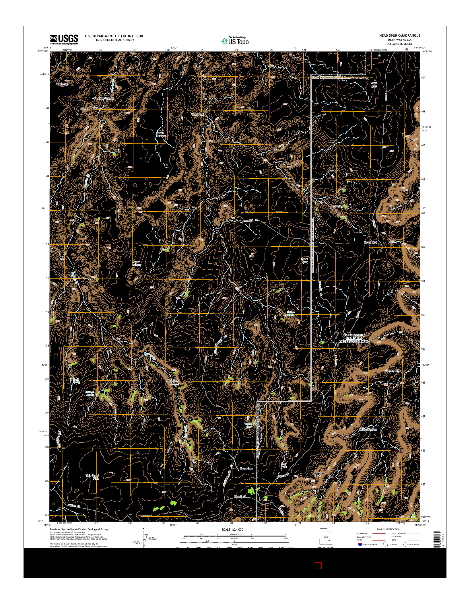 USGS US TOPO 7.5-MINUTE MAP FOR HEAD SPUR, UT 2014
