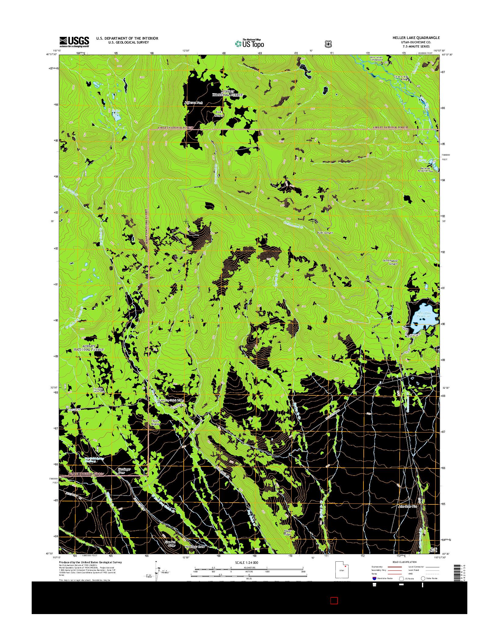 USGS US TOPO 7.5-MINUTE MAP FOR HELLER LAKE, UT 2014
