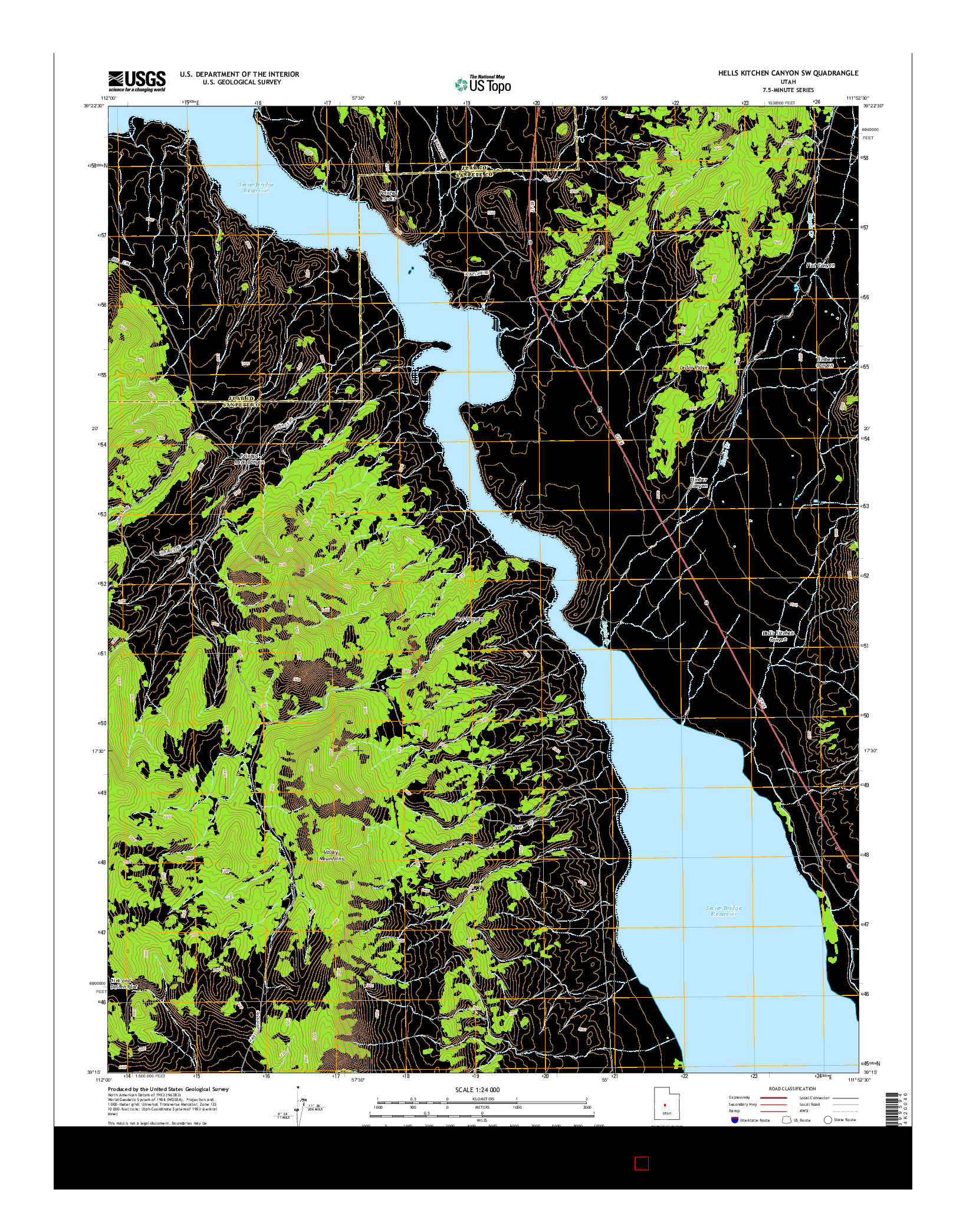 USGS US TOPO 7.5-MINUTE MAP FOR HELLS KITCHEN CANYON SW, UT 2014