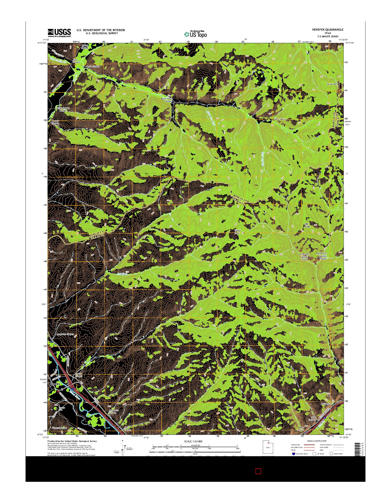 USGS US TOPO 7.5-MINUTE MAP FOR HENEFER, UT 2014