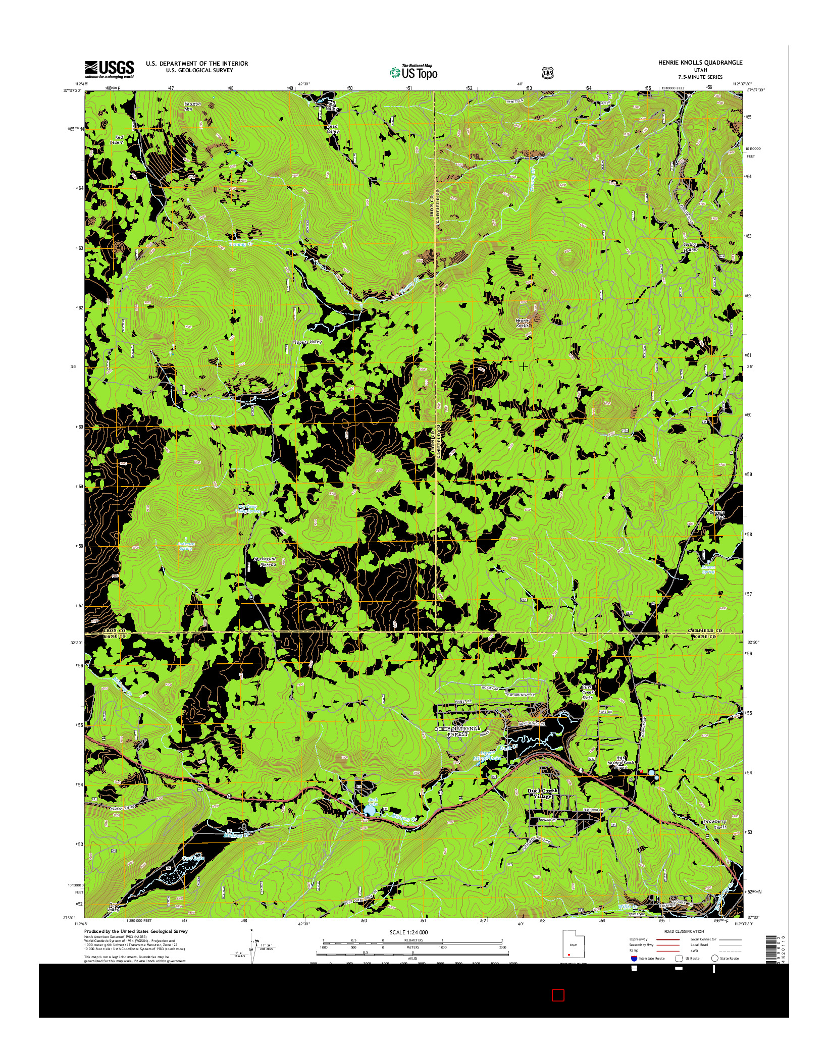 USGS US TOPO 7.5-MINUTE MAP FOR HENRIE KNOLLS, UT 2014