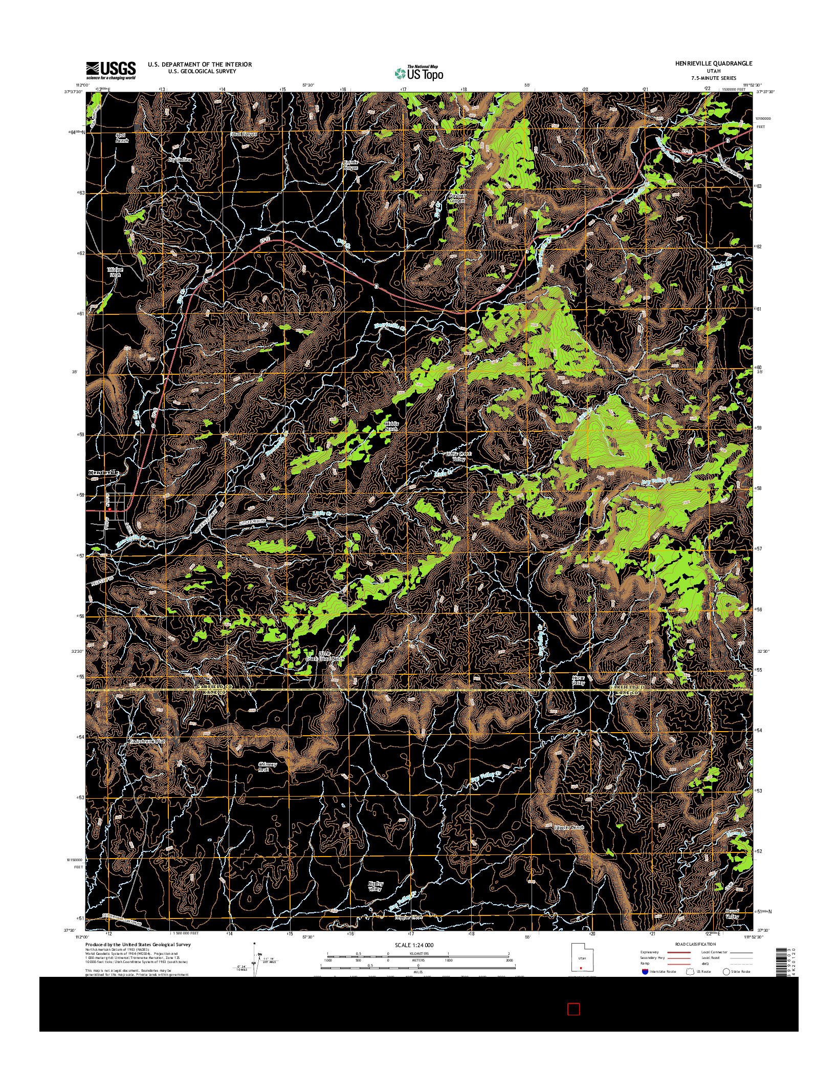 USGS US TOPO 7.5-MINUTE MAP FOR HENRIEVILLE, UT 2014